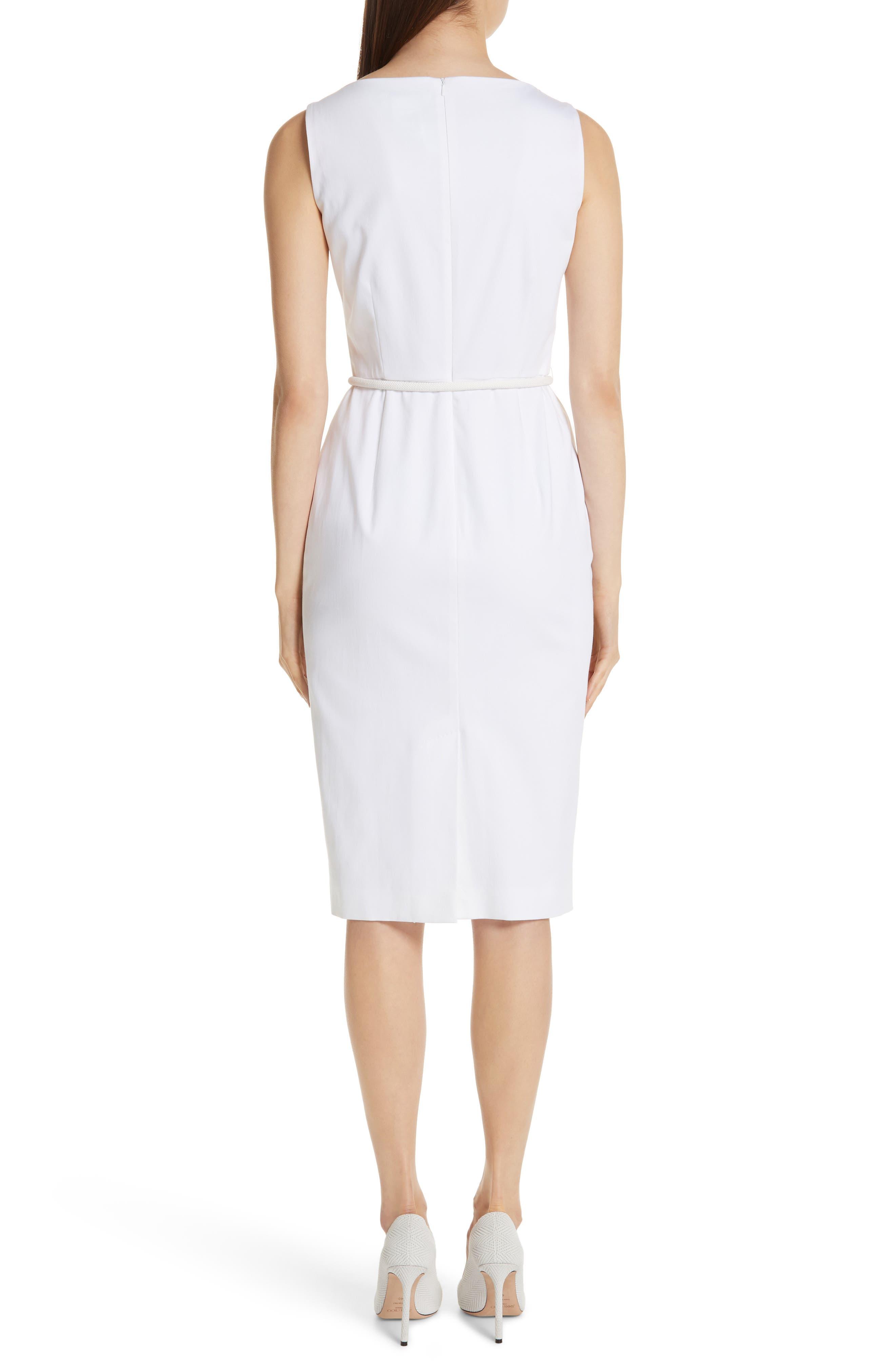MAX MARA, Cordoba Sheath Dress, Alternate thumbnail 2, color, OPTICAL WHITE