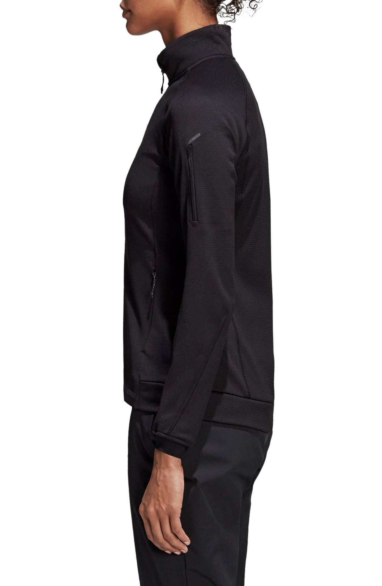 ADIDAS, Stockhorn Fleece Jacket, Alternate thumbnail 4, color, BLACK