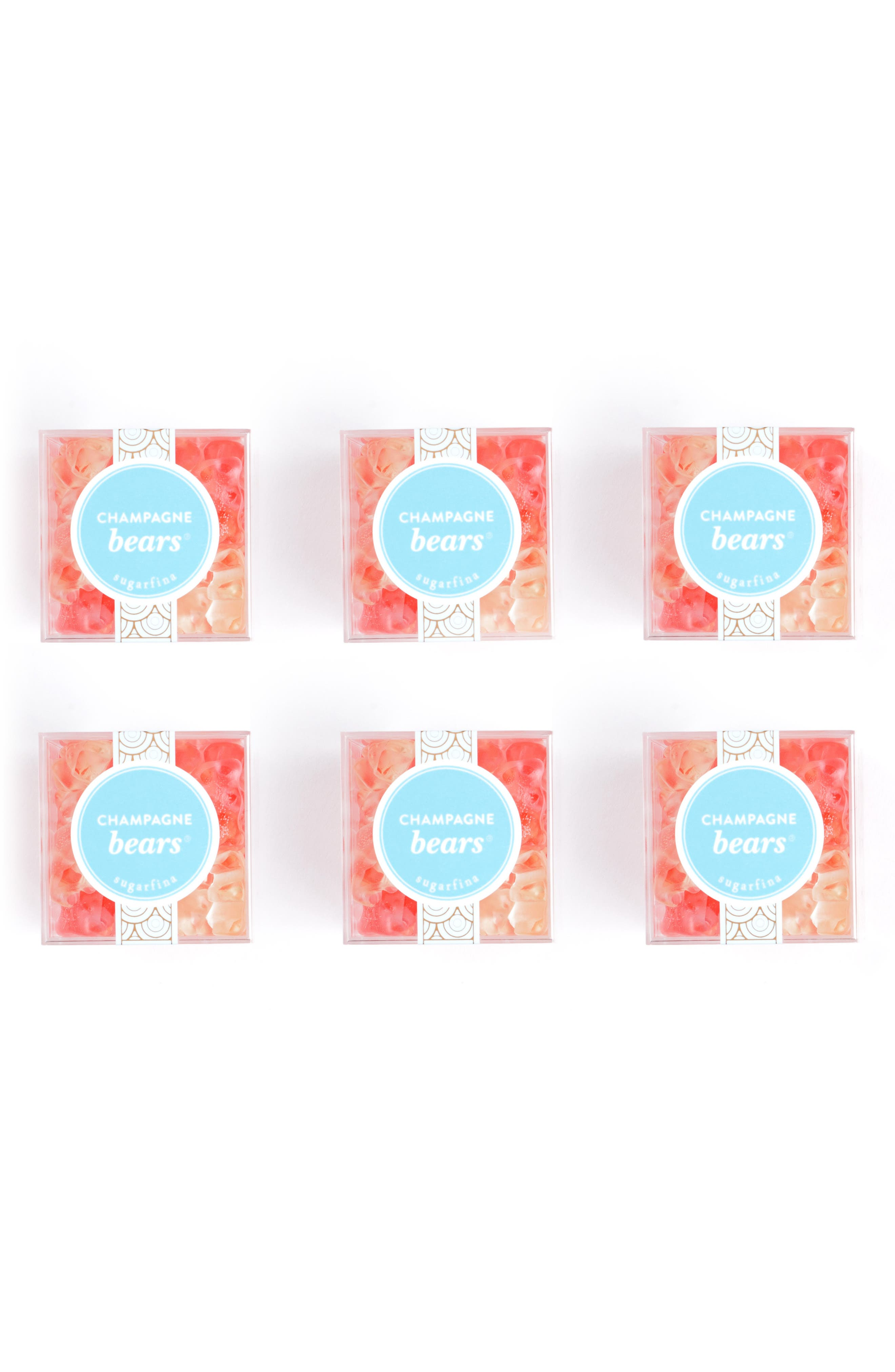 SUGARFINA, Set of 6 Champagne Bears<sup>®</sup> Candy Cubes, Alternate thumbnail 3, color, PINK