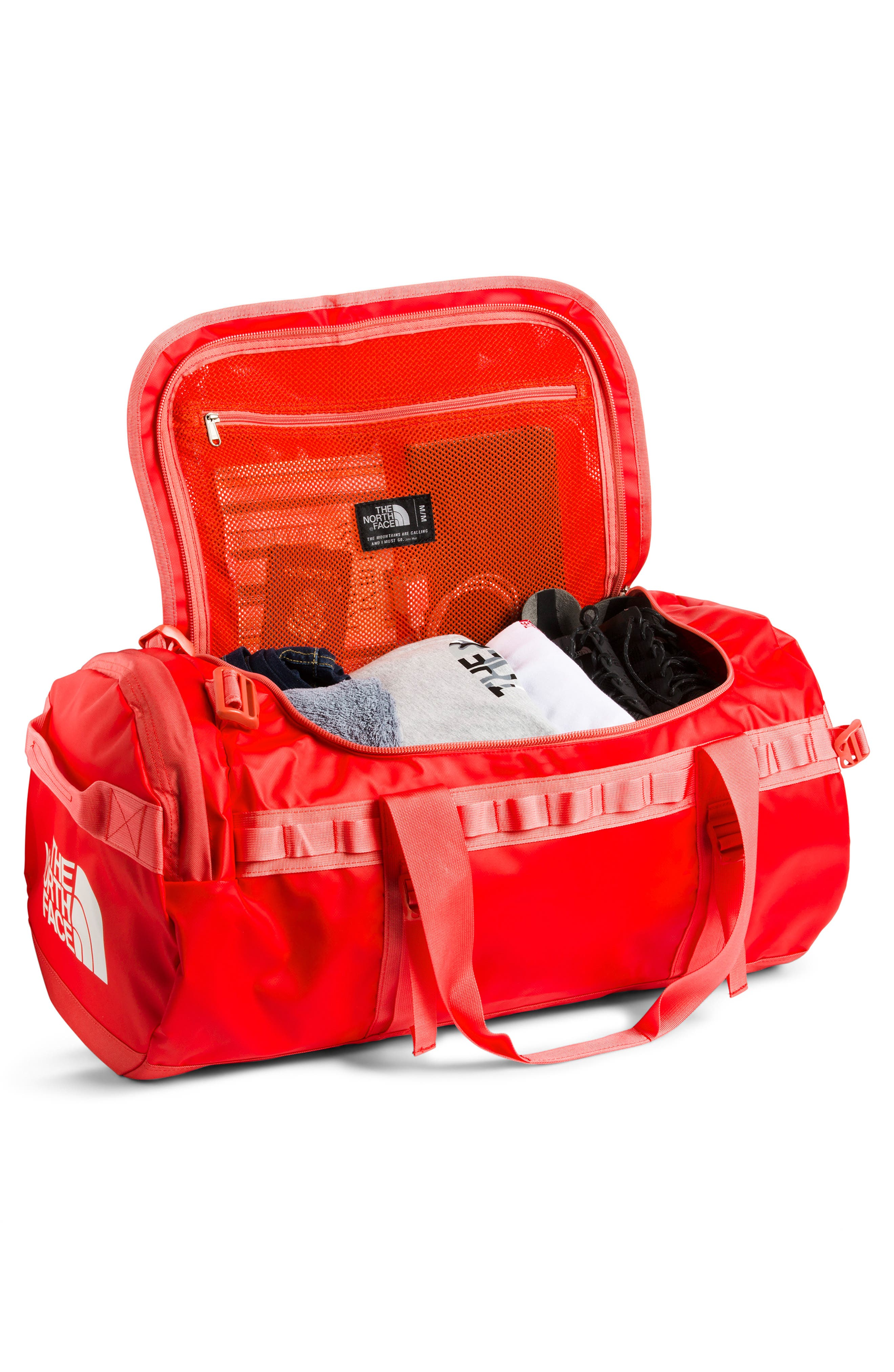 THE NORTH FACE, Base Camp Medium Duffle Bag, Alternate thumbnail 3, color, JUICY RED/ SPICED CORAL