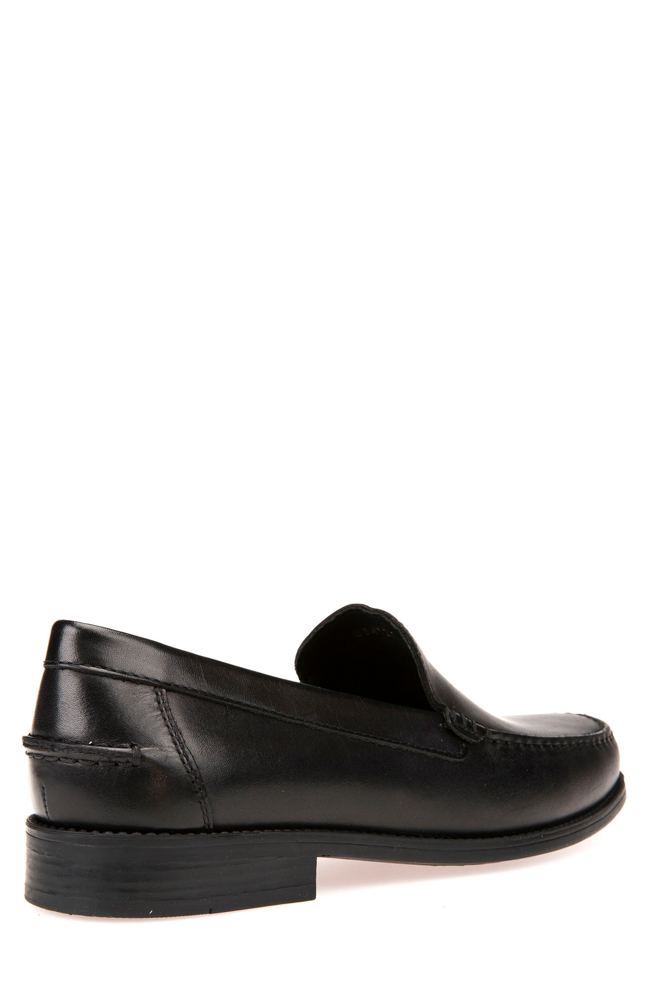 GEOX, New Damon 2 Venetian Slip-On Shoe, Alternate thumbnail 2, color, BLACK LEATHER