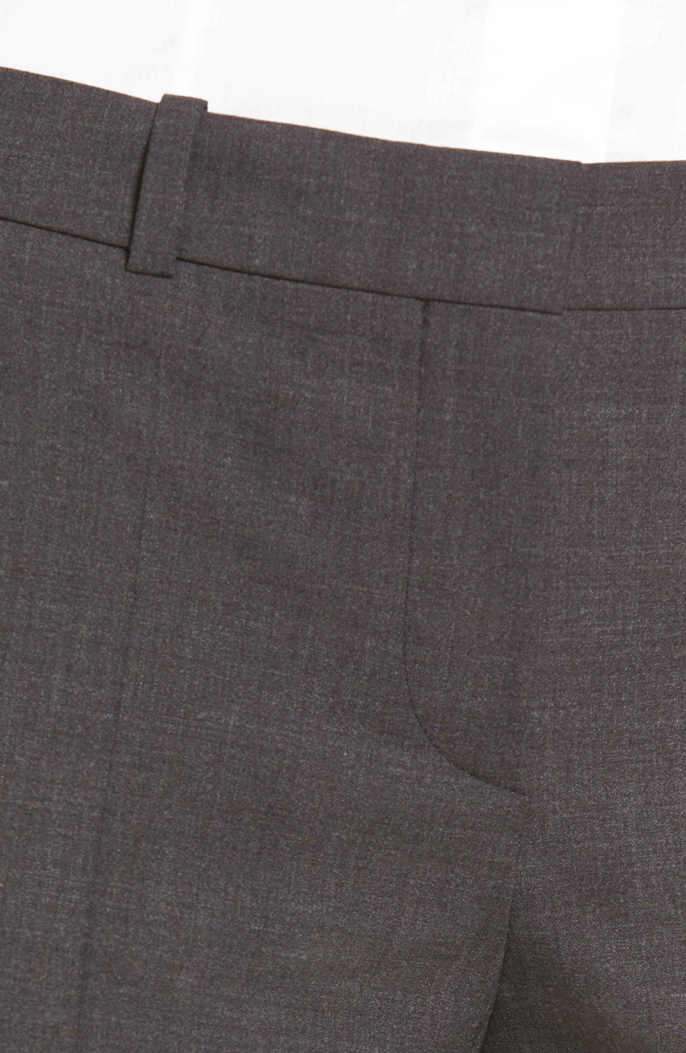 BOSS, Tulea3 Tropical Stretch Wool Trousers, Alternate thumbnail 5, color, CHARCOAL