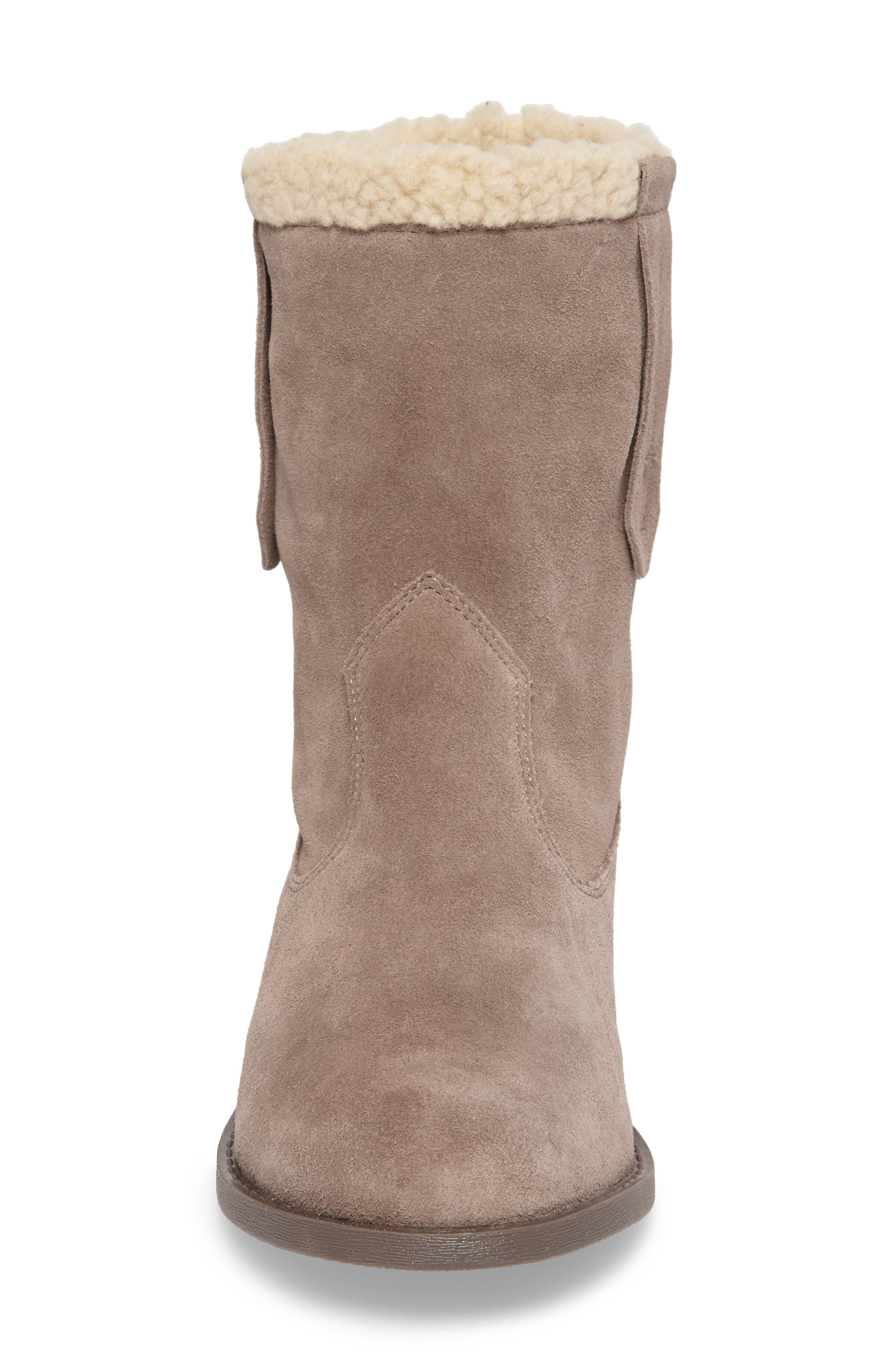 SOLE SOCIETY, Verona Faux Shearling Boot, Alternate thumbnail 4, color, DARK MUSHROOM SUEDE