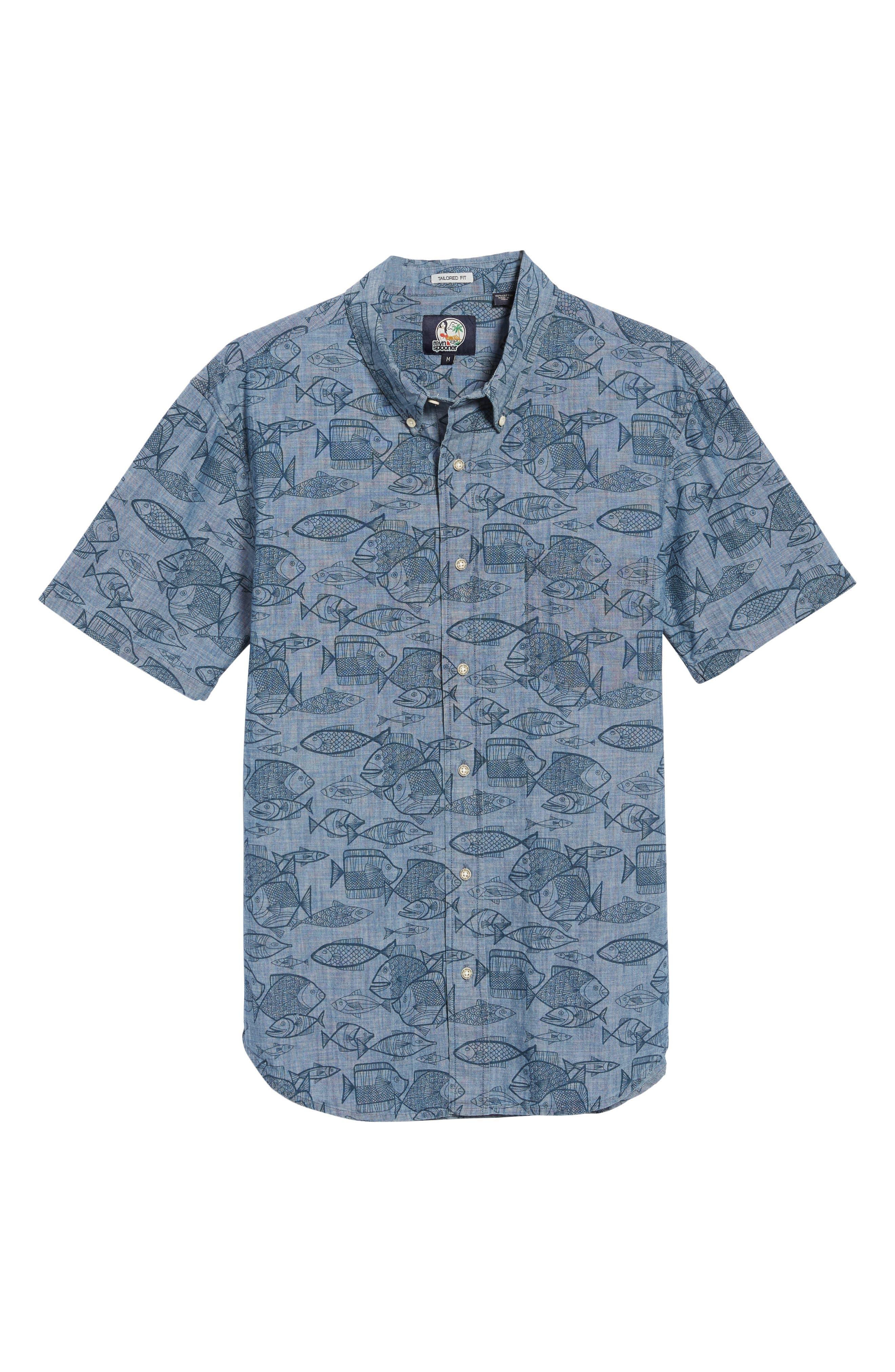 REYN SPOONER, Kauhulu Tailored Fit Sport Shirt, Alternate thumbnail 5, color, CHAMBRAY BLUE