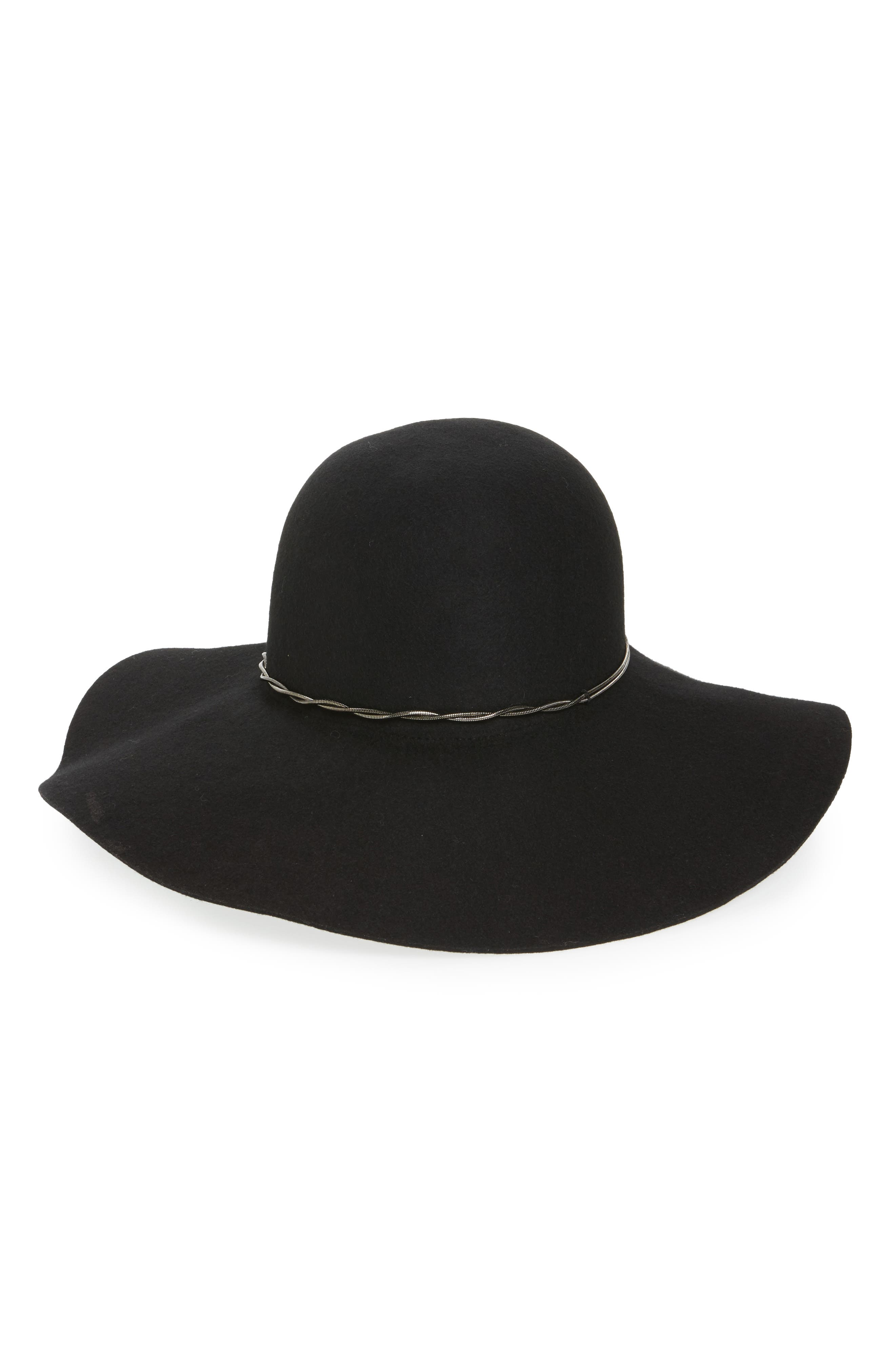 HALOGEN<SUP>®</SUP>, Chain Band Floppy Hat, Main thumbnail 1, color, 001