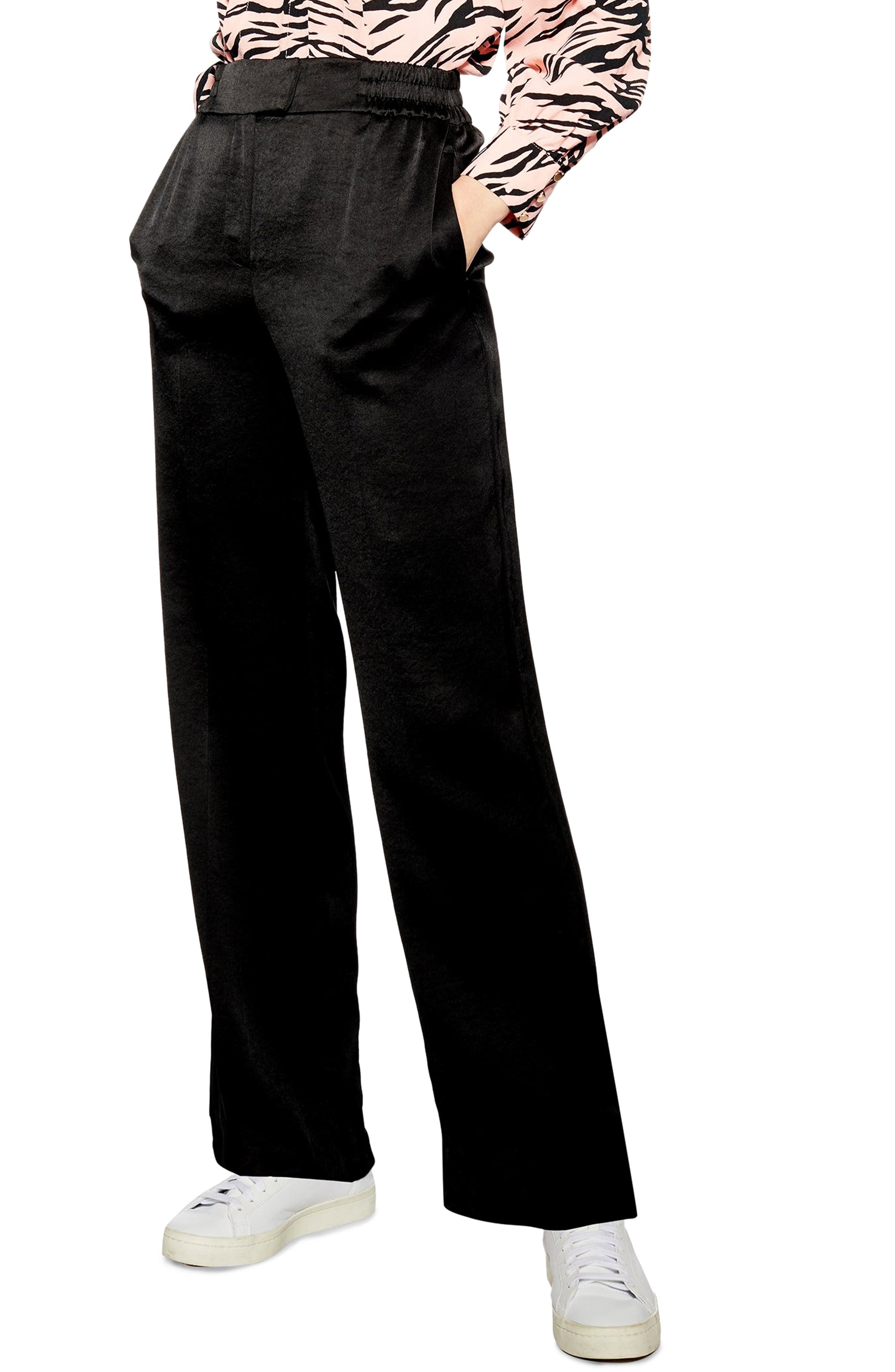 TOPSHOP, Elastic Satin Trousers, Main thumbnail 1, color, 001