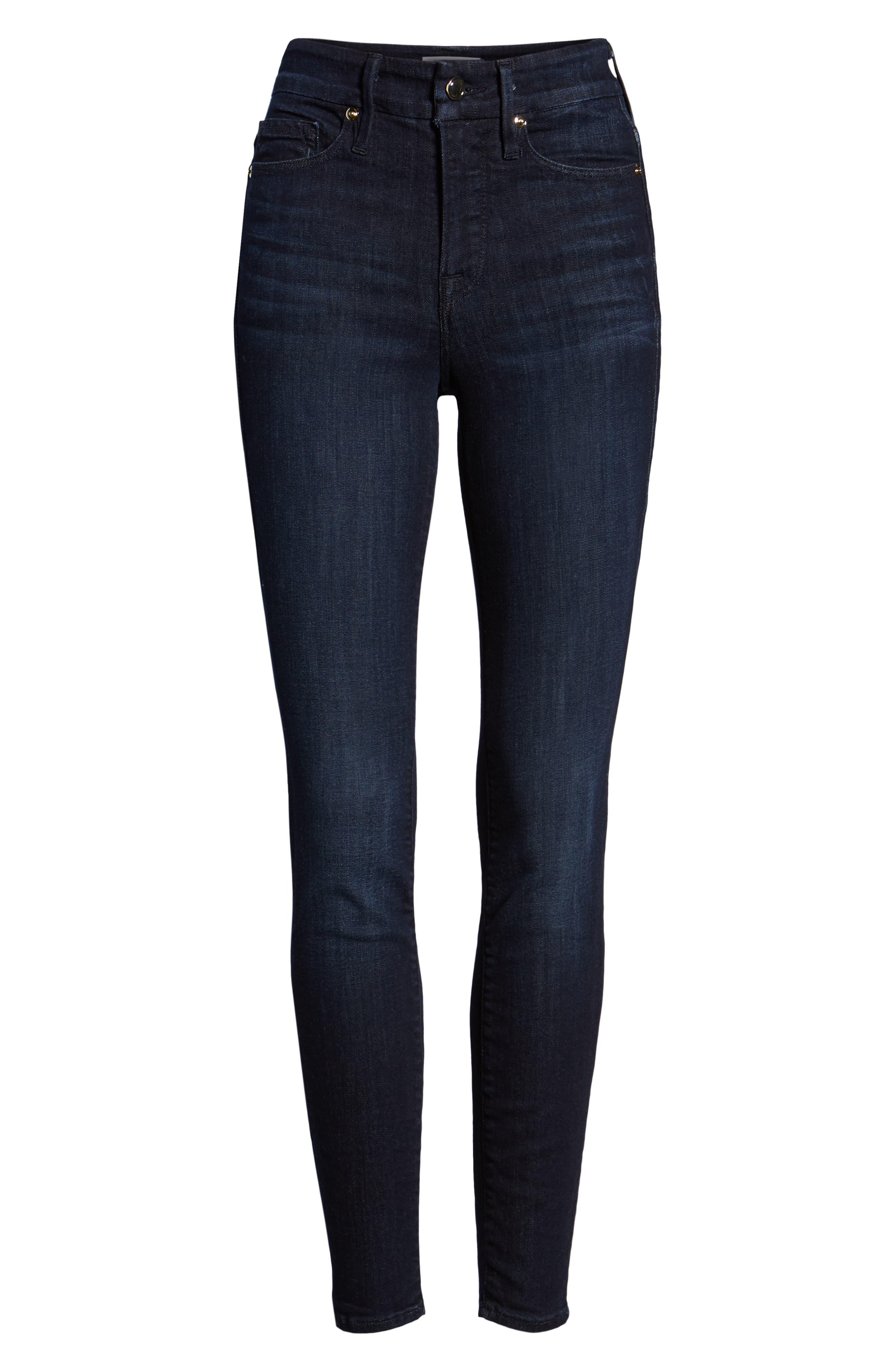 GOOD AMERICAN, Good Legs High Waist Skinny Jeans, Alternate thumbnail 8, color, BLUE224