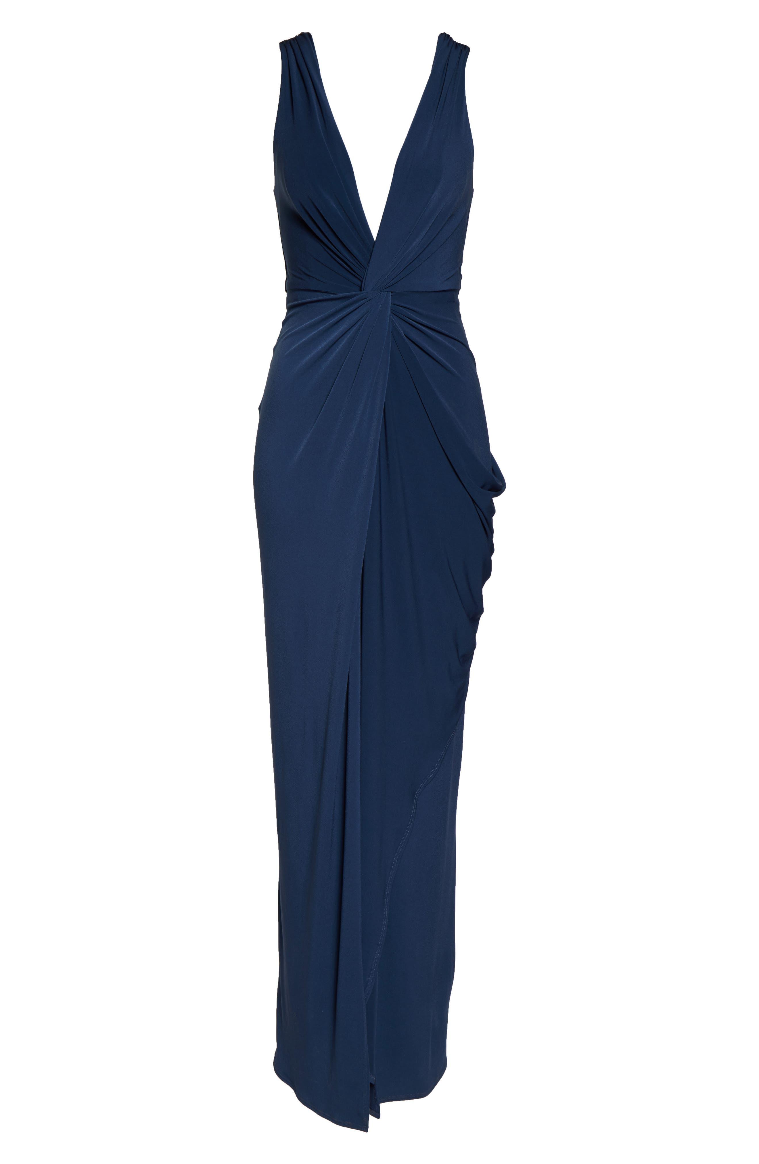KATIE MAY, Leo Twist Front Evening Dress, Alternate thumbnail 7, color, DEEP SEA