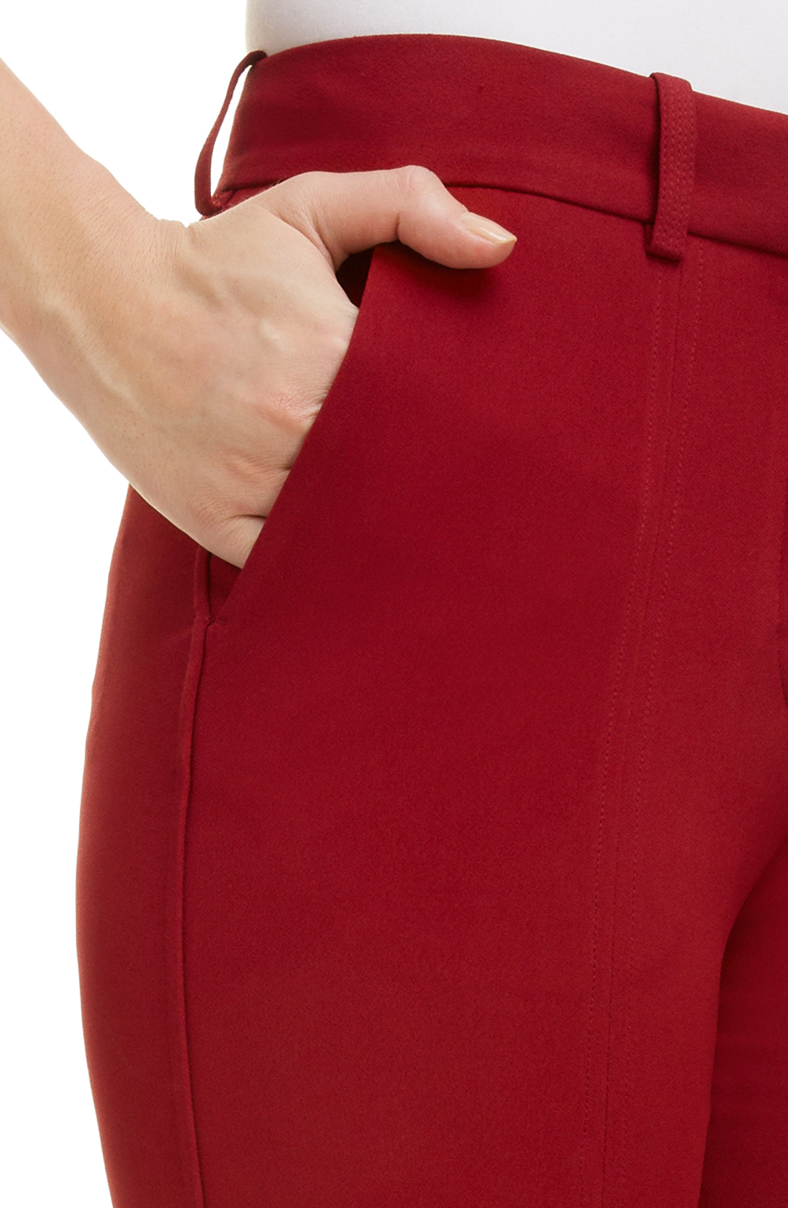 VICTORIA BECKHAM, Front Split Skinny Pants, Alternate thumbnail 4, color, BURGUNDY