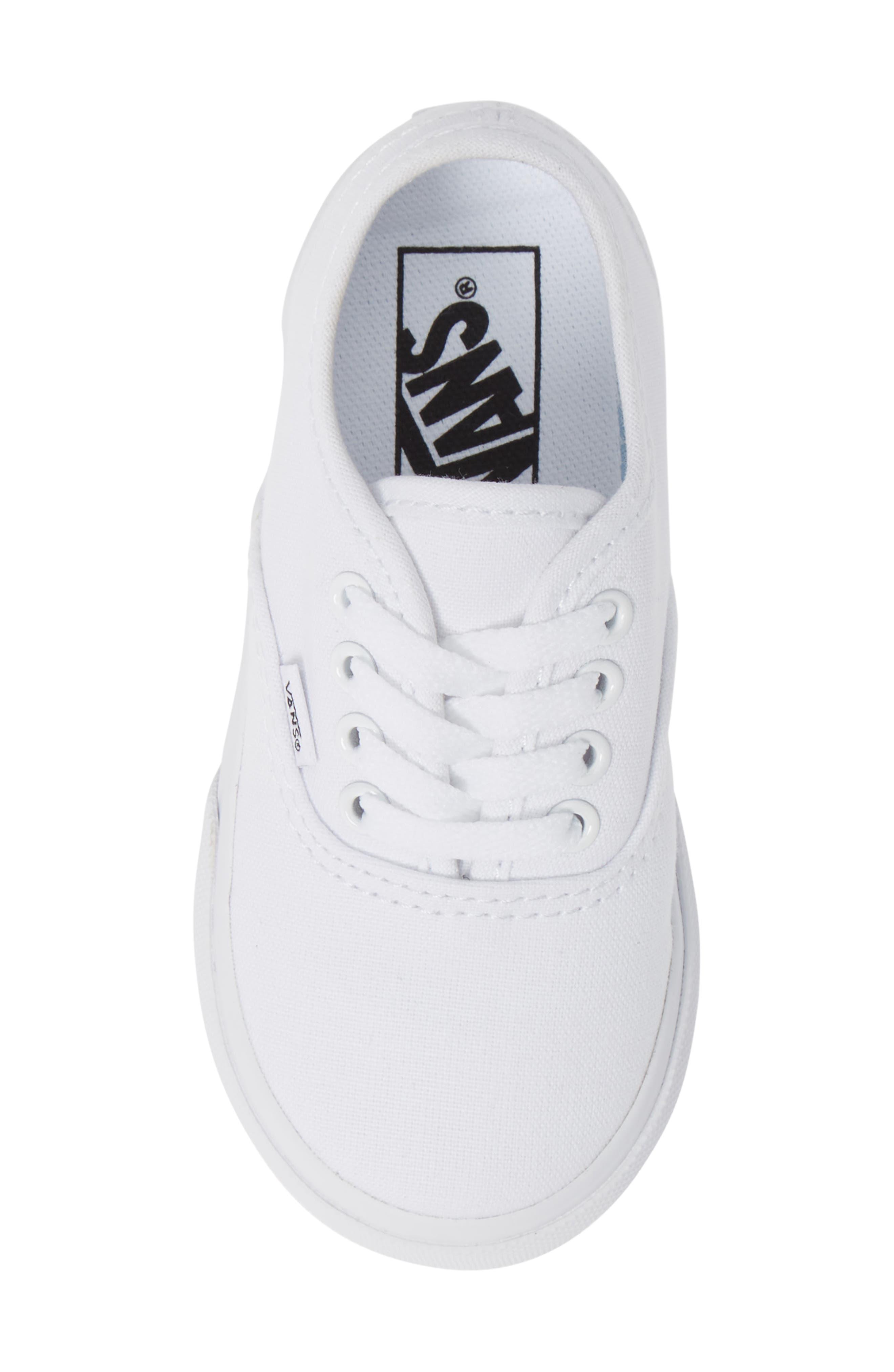 VANS, 'Authentic' Sneaker, Alternate thumbnail 5, color, TRUE WHITE/ WHITE