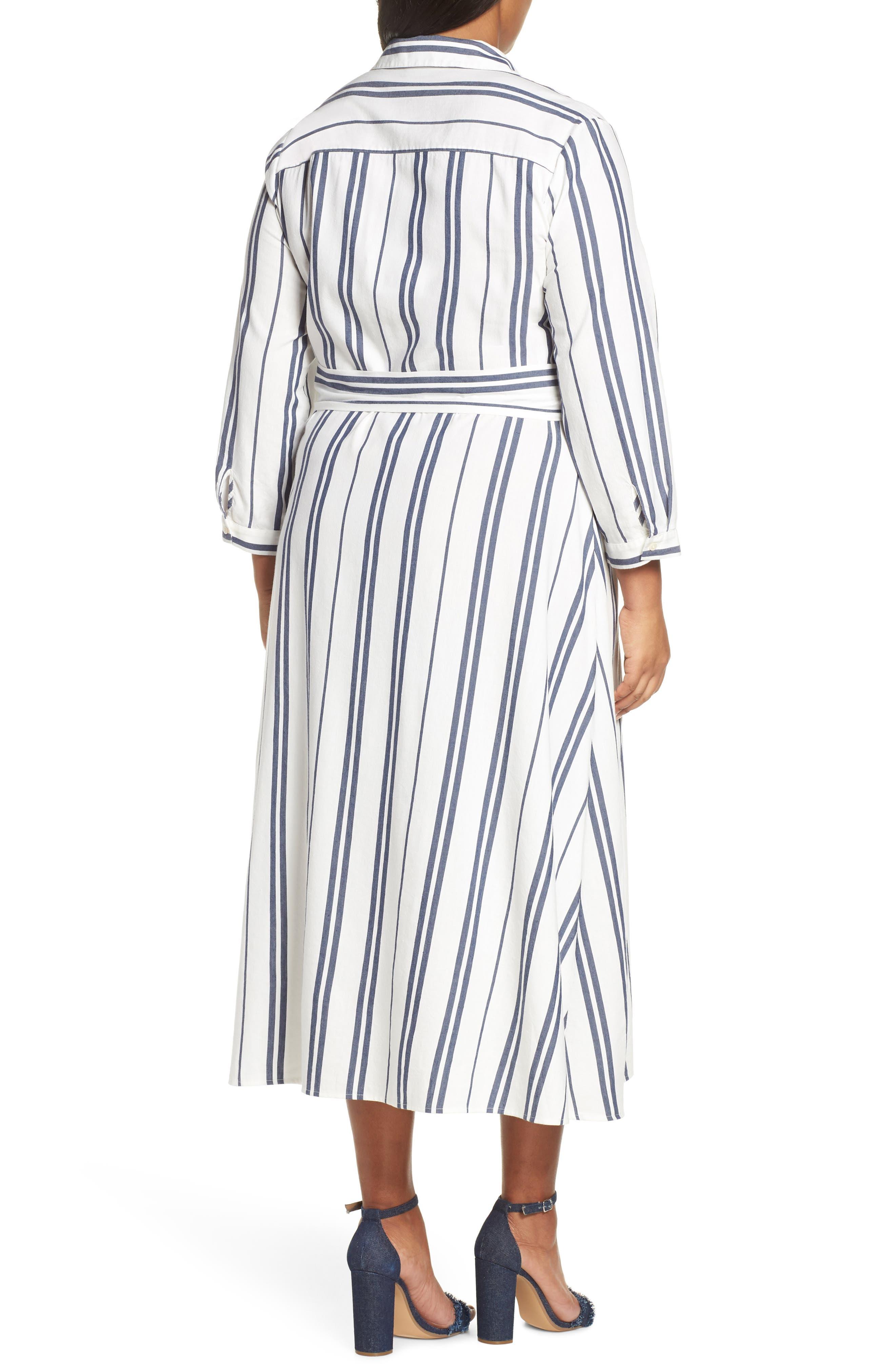VINCE CAMUTO, Valiant Stripe Midi Shirtdress, Alternate thumbnail 2, color, PEARL IVORY