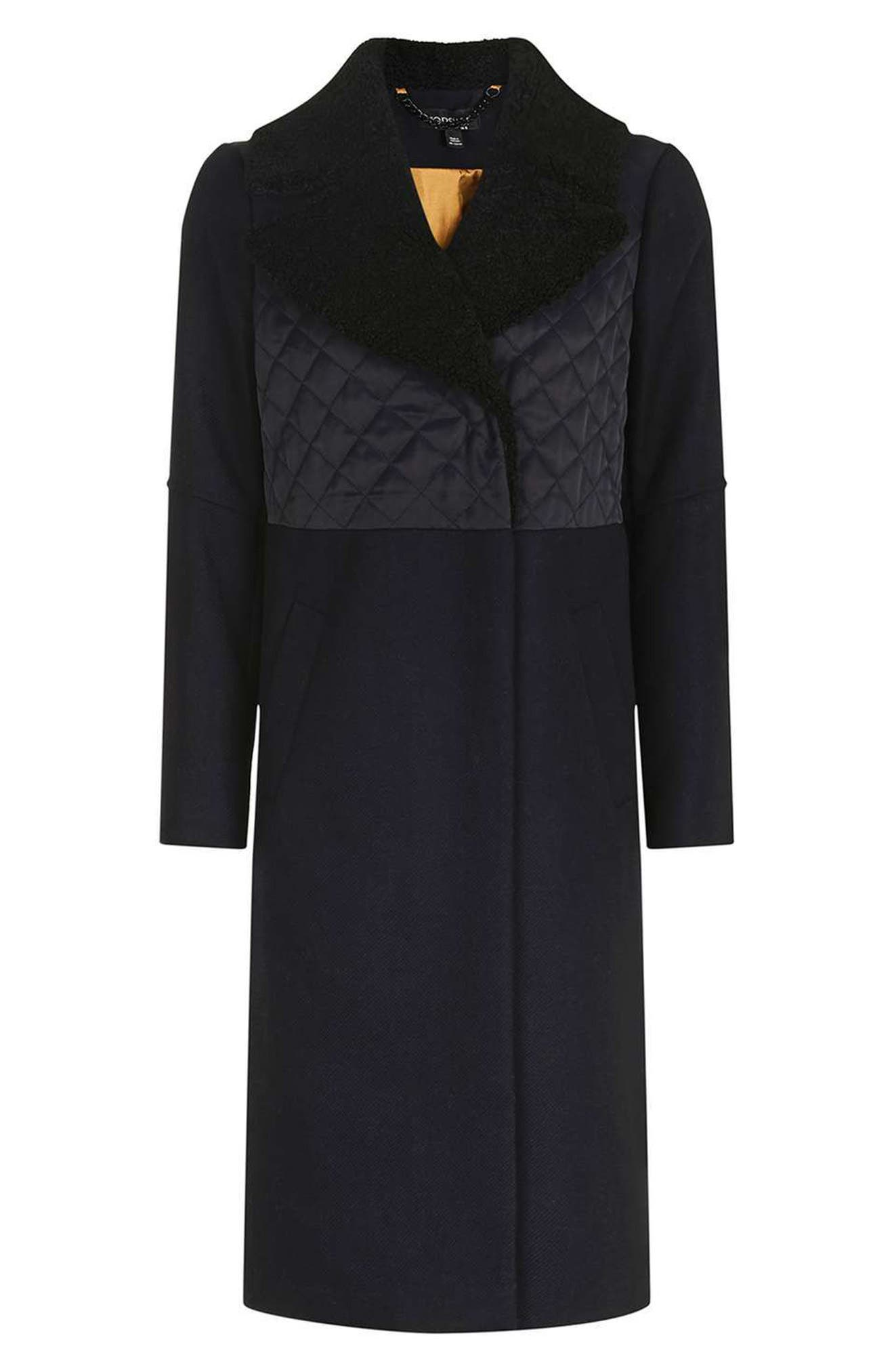 TOPSHOP, Faux Shearling Collar Coat, Alternate thumbnail 4, color, 410
