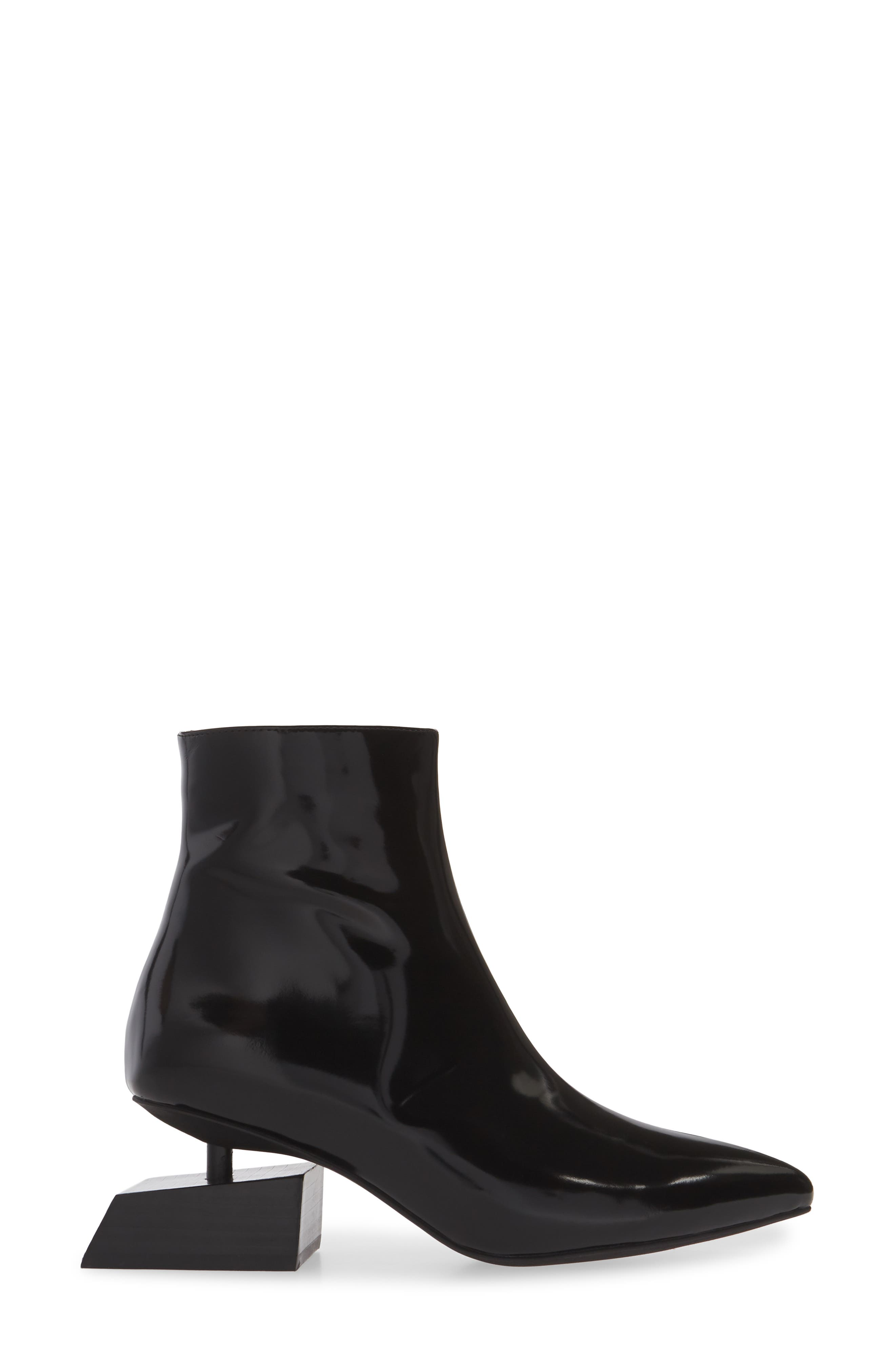 JEFFREY CAMPBELL, Anatomic Boot, Alternate thumbnail 3, color, BLACK LEATHER