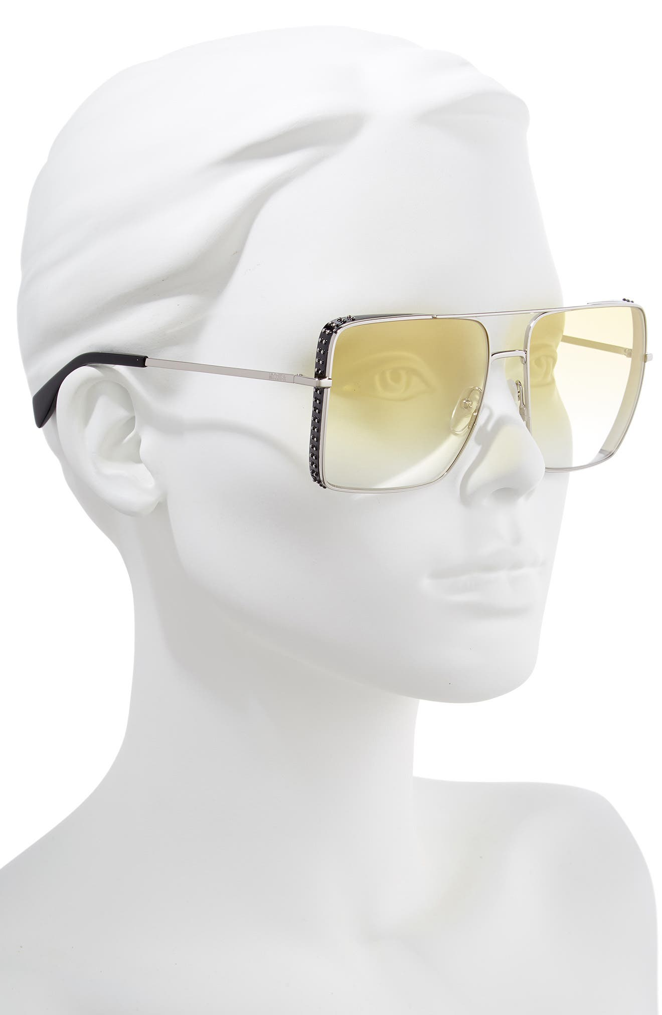 MOSCHINO, 50mm Square Flat Top Sunglasses, Alternate thumbnail 2, color, PALLADIUM