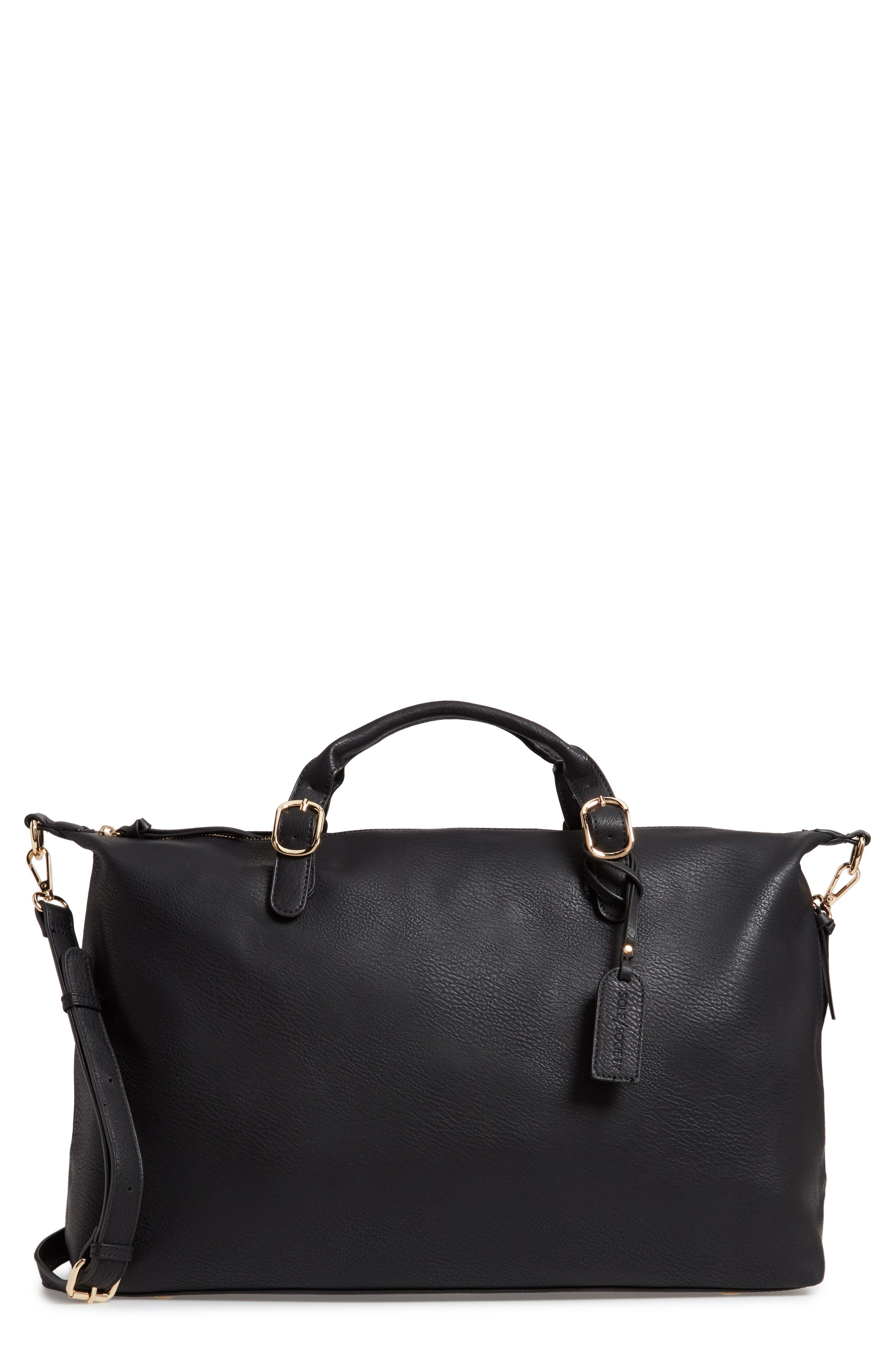 SOLE SOCIETY, Grant Faux Leather Weekend Bag, Main thumbnail 1, color, BLACK