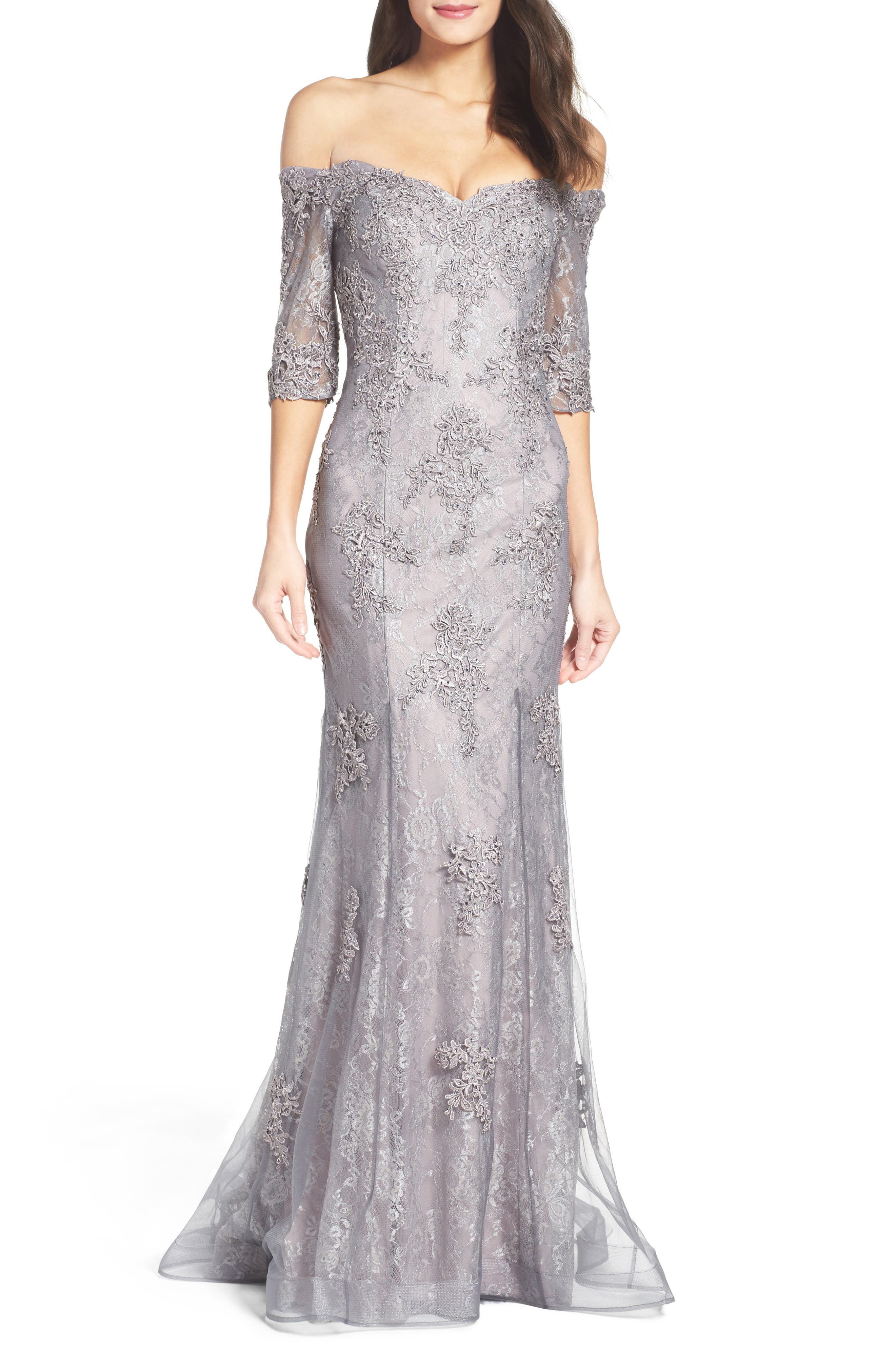 LA FEMME, Fit & Flare Gown with Train, Main thumbnail 1, color, PINK/ GRAY