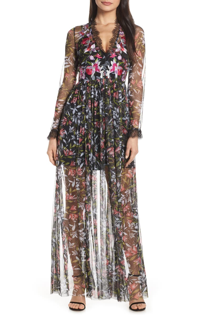 French Connection Dresses EMBROIDERED FLORAL MAXI DRESS
