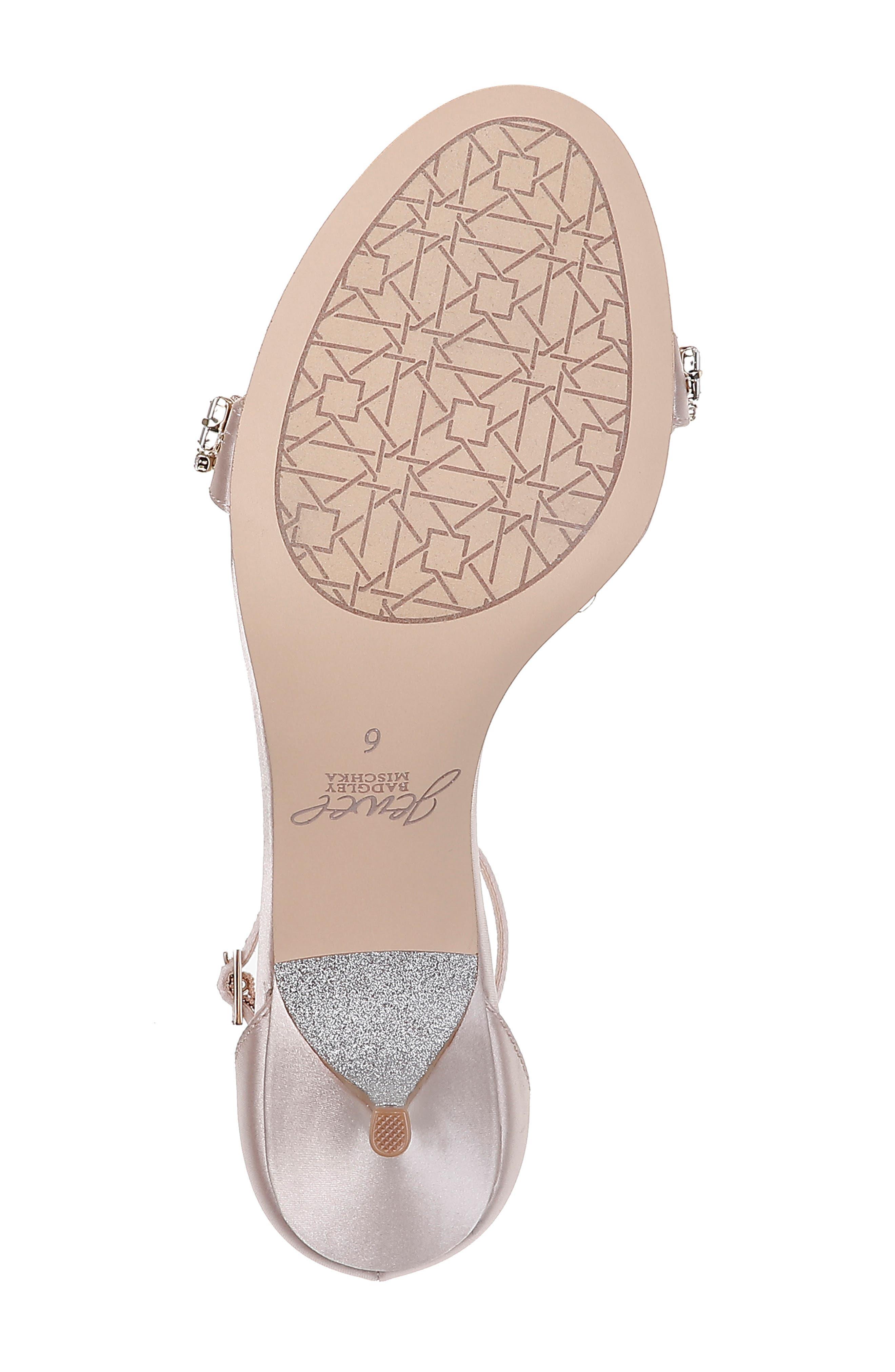 JEWEL BADGLEY MISCHKA, Dash Embellished Halo Strap Sandal, Alternate thumbnail 6, color, CHAMPAGNE SATIN