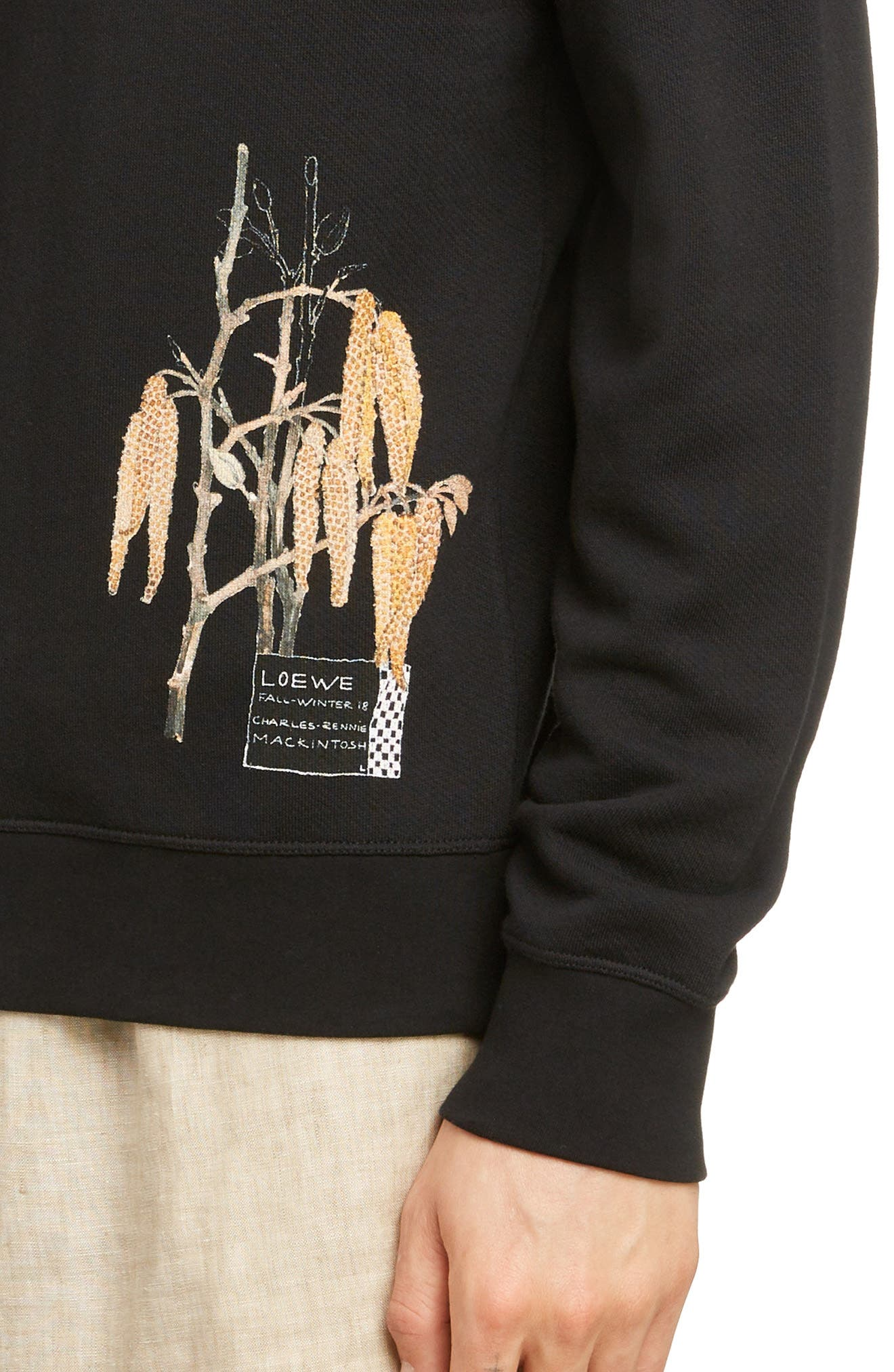 LOEWE, Charles Rennie Mackintosh Collection Botanical Print Sweatshirt, Alternate thumbnail 4, color, 1100-BLACK