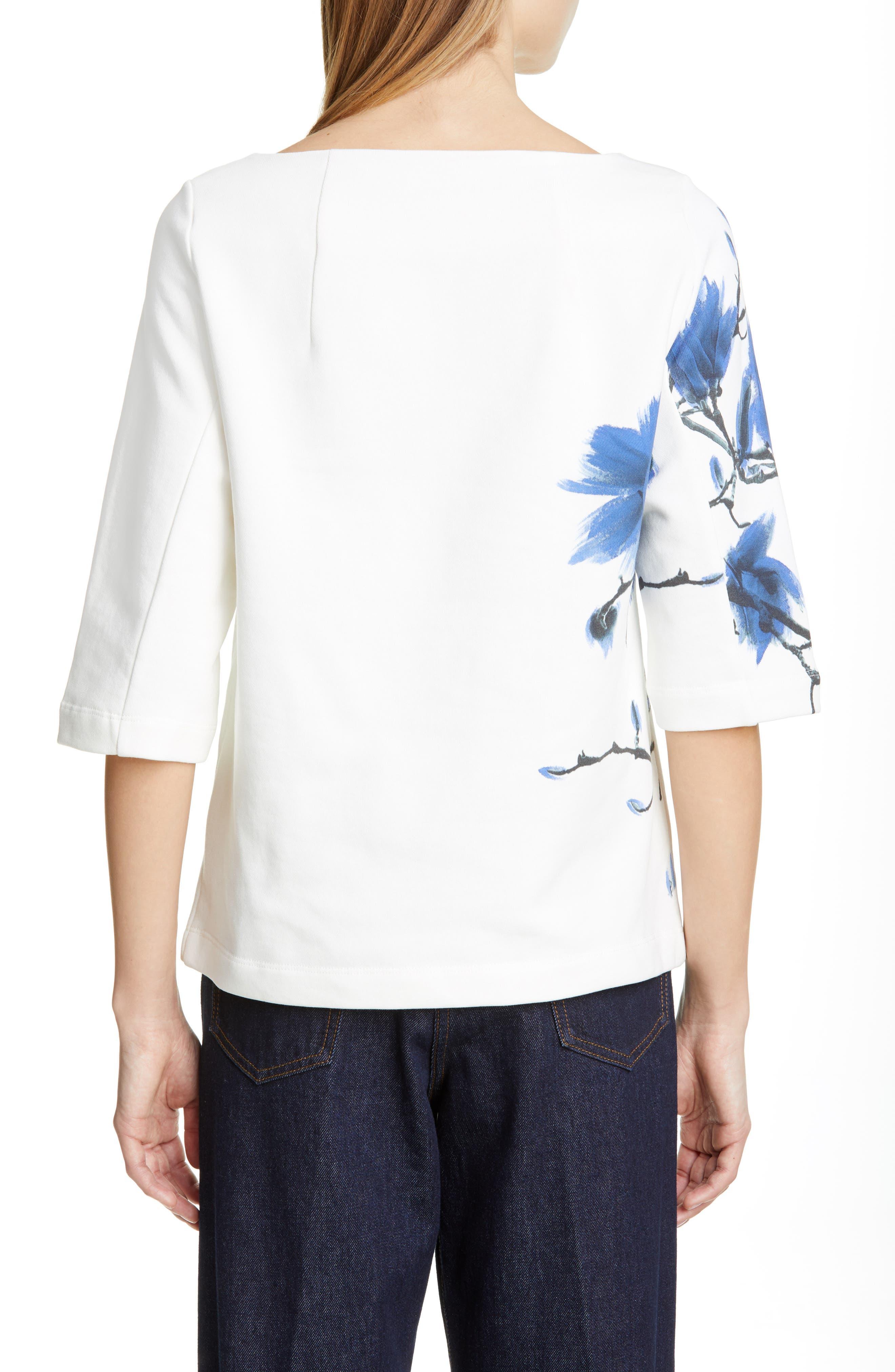 DRIES VAN NOTEN, Haendel Hand Painted Floral Top, Alternate thumbnail 2, color, BLACK