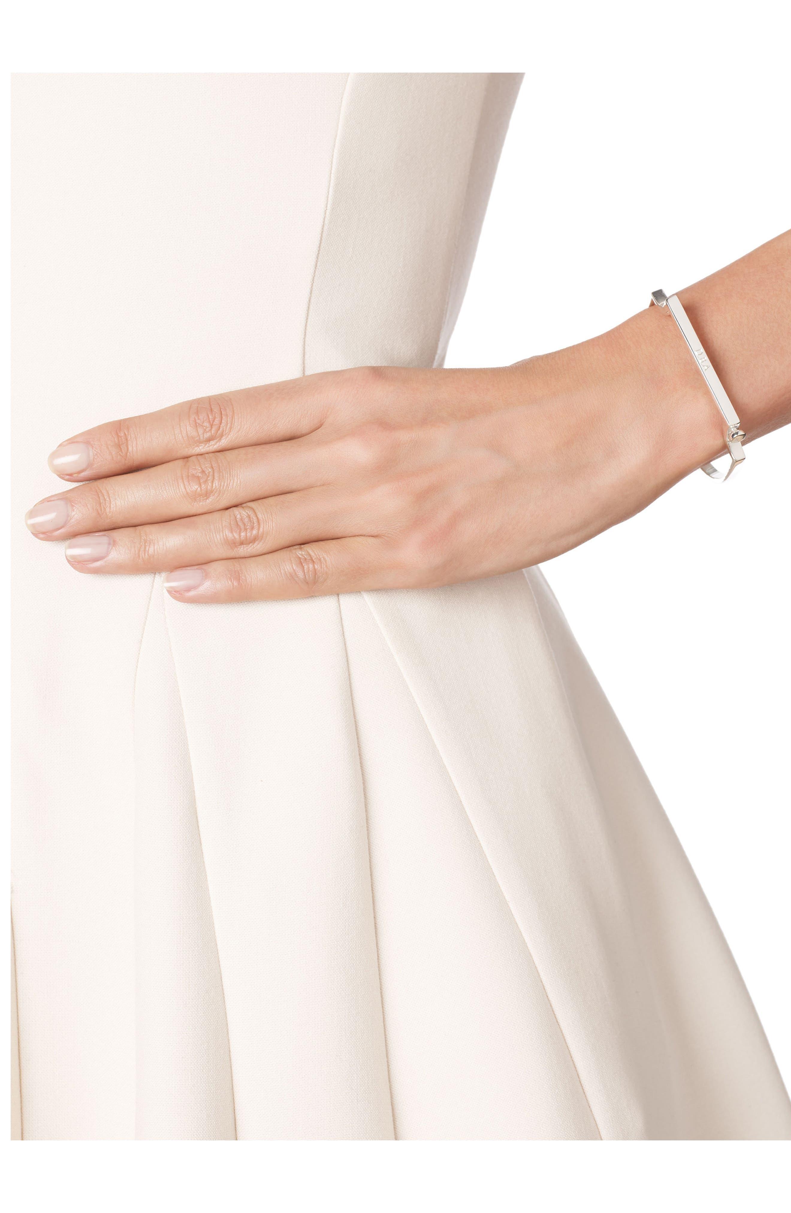 MONICA VINADER, Engravable Signature Thin Bangle Bracelet, Alternate thumbnail 5, color, SILVER