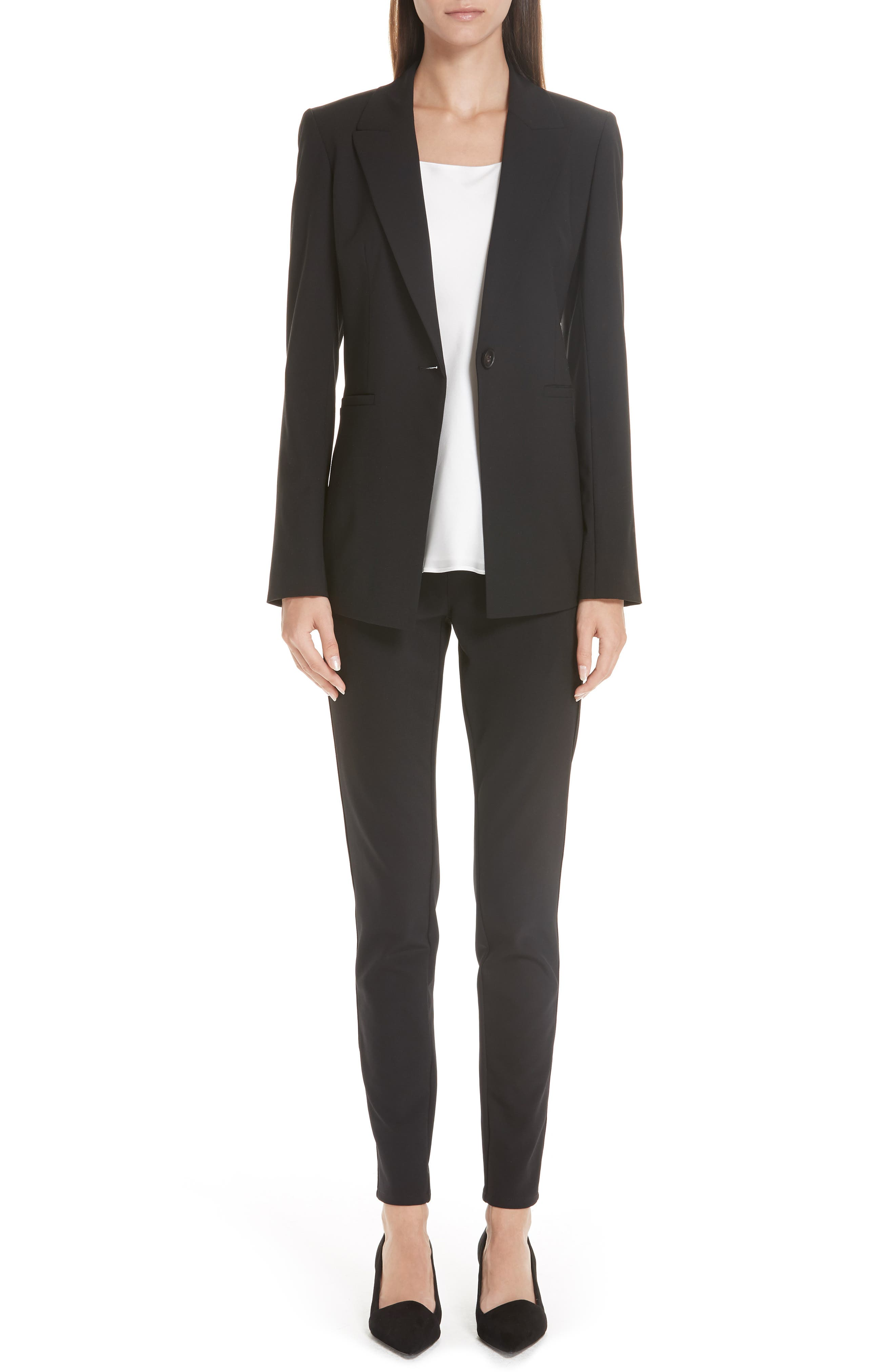 LAFAYETTE 148 NEW YORK, Charice Stretch Wool Jacket, Alternate thumbnail 9, color, BLACK