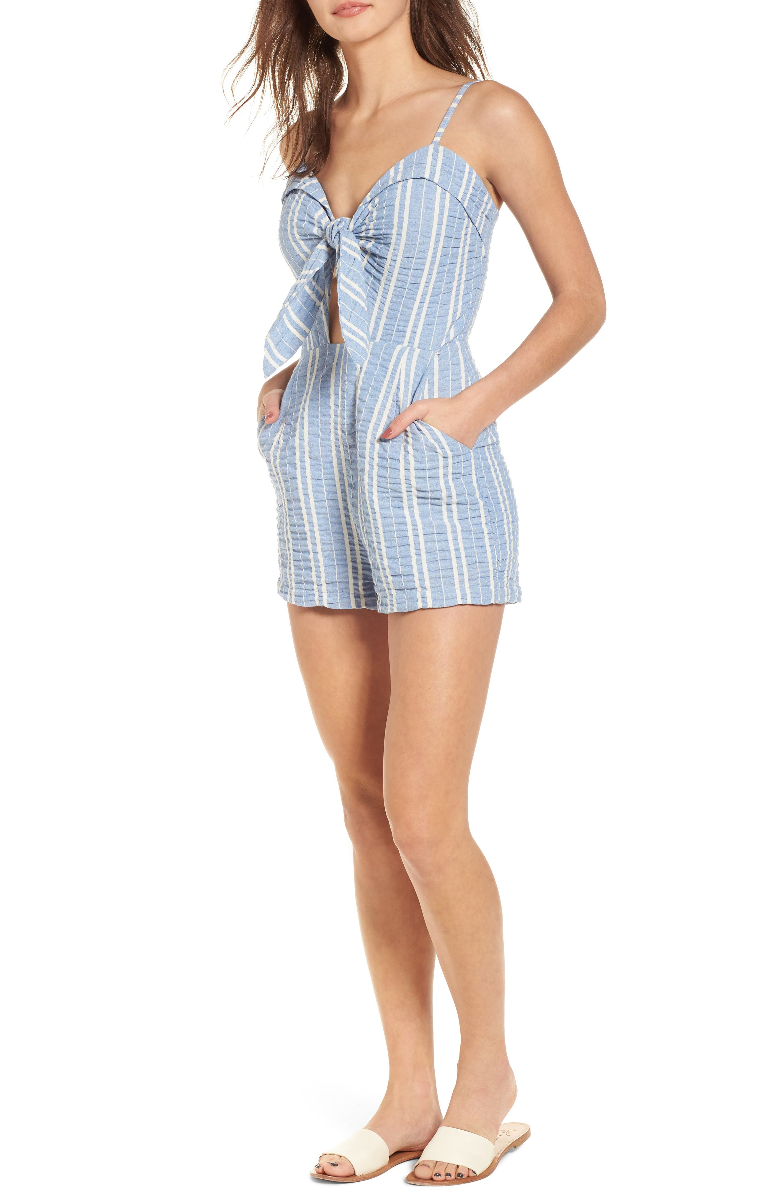 LOST + WANDER, Waves Stripe Tie Front Romper, Main thumbnail 1, color, 466