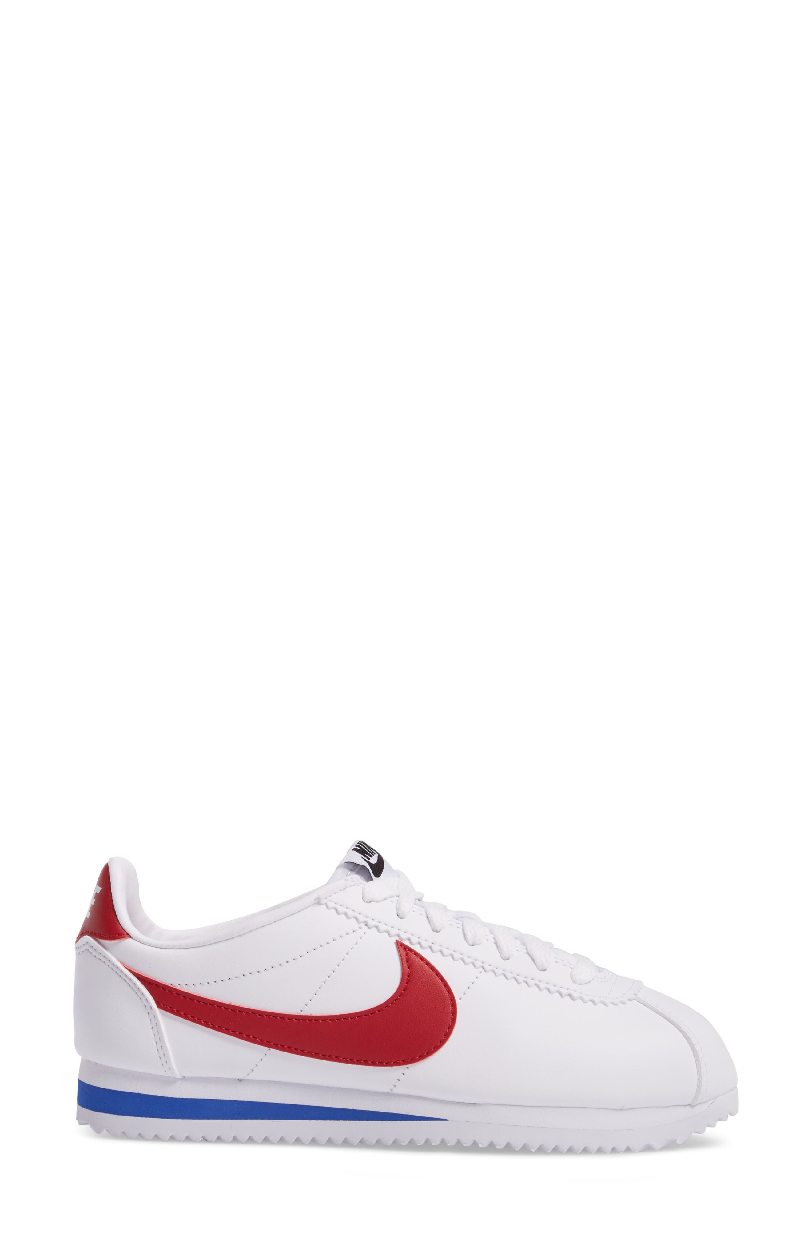 NIKE, Classic Cortez Sneaker, Alternate thumbnail 3, color, WHITE/ VARSITY RED