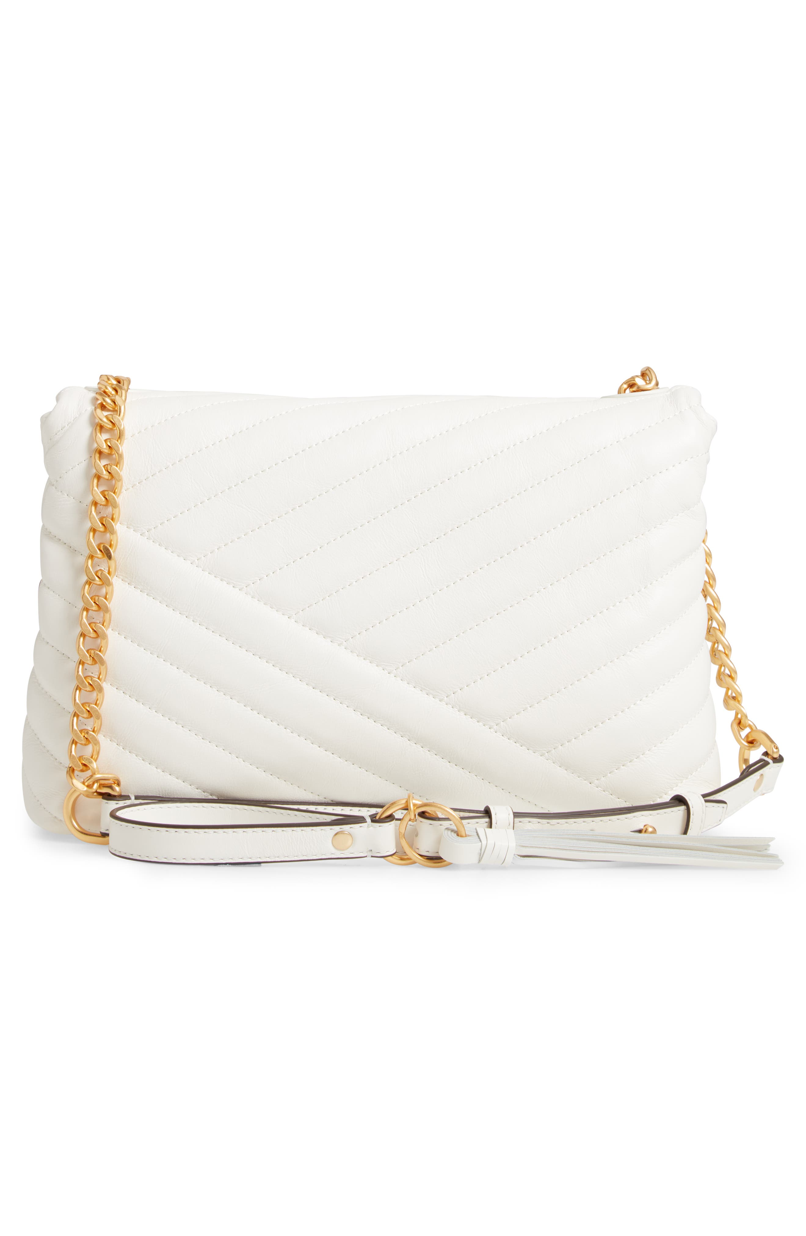 TORY BURCH, Kira Chevron Quilted Leather Shoulder Bag, Alternate thumbnail 4, color, NEW IVORY