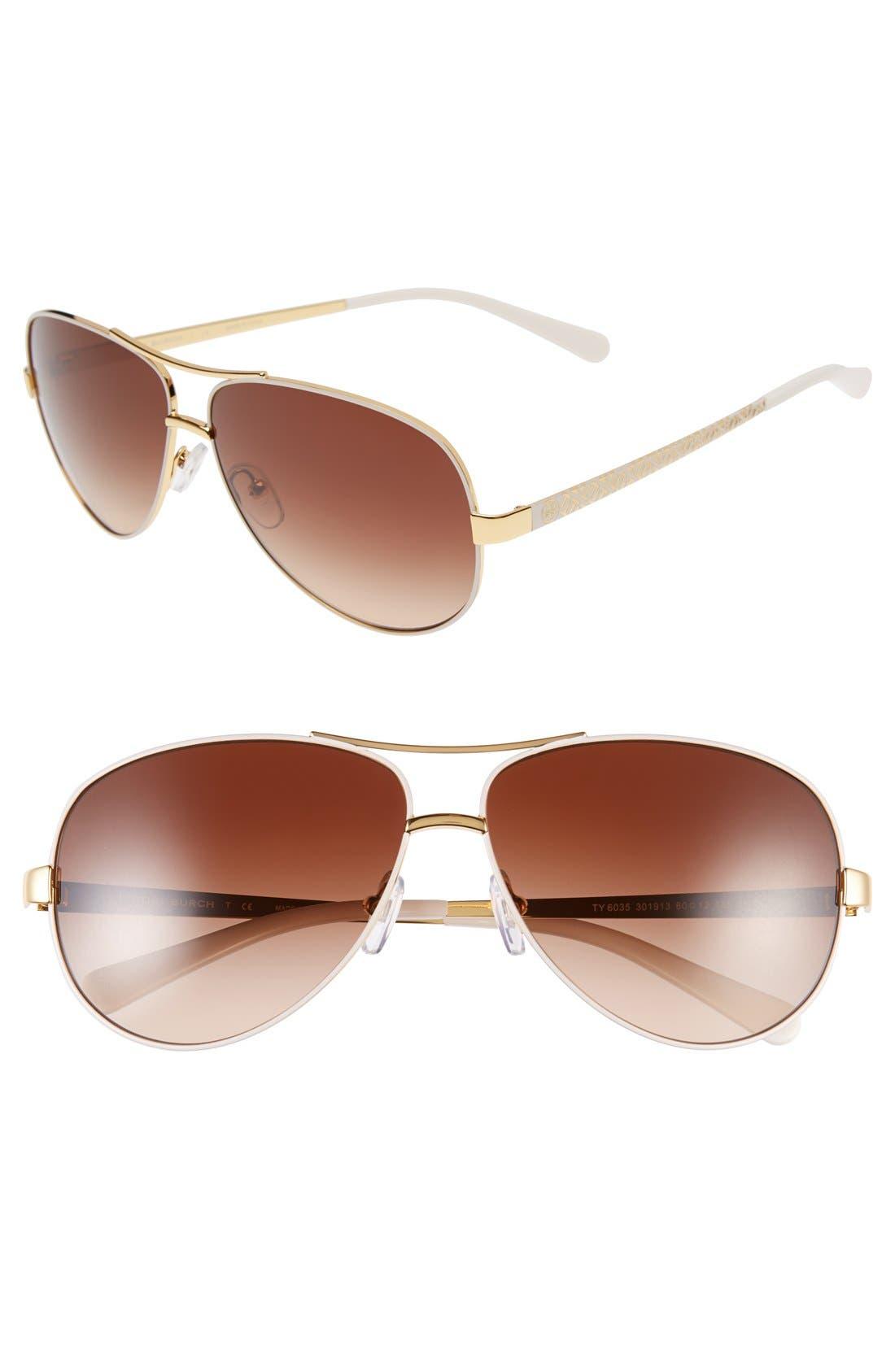 TORY BURCH 60mm Aviator Sunglasses, Main, color, IVORY GOLD