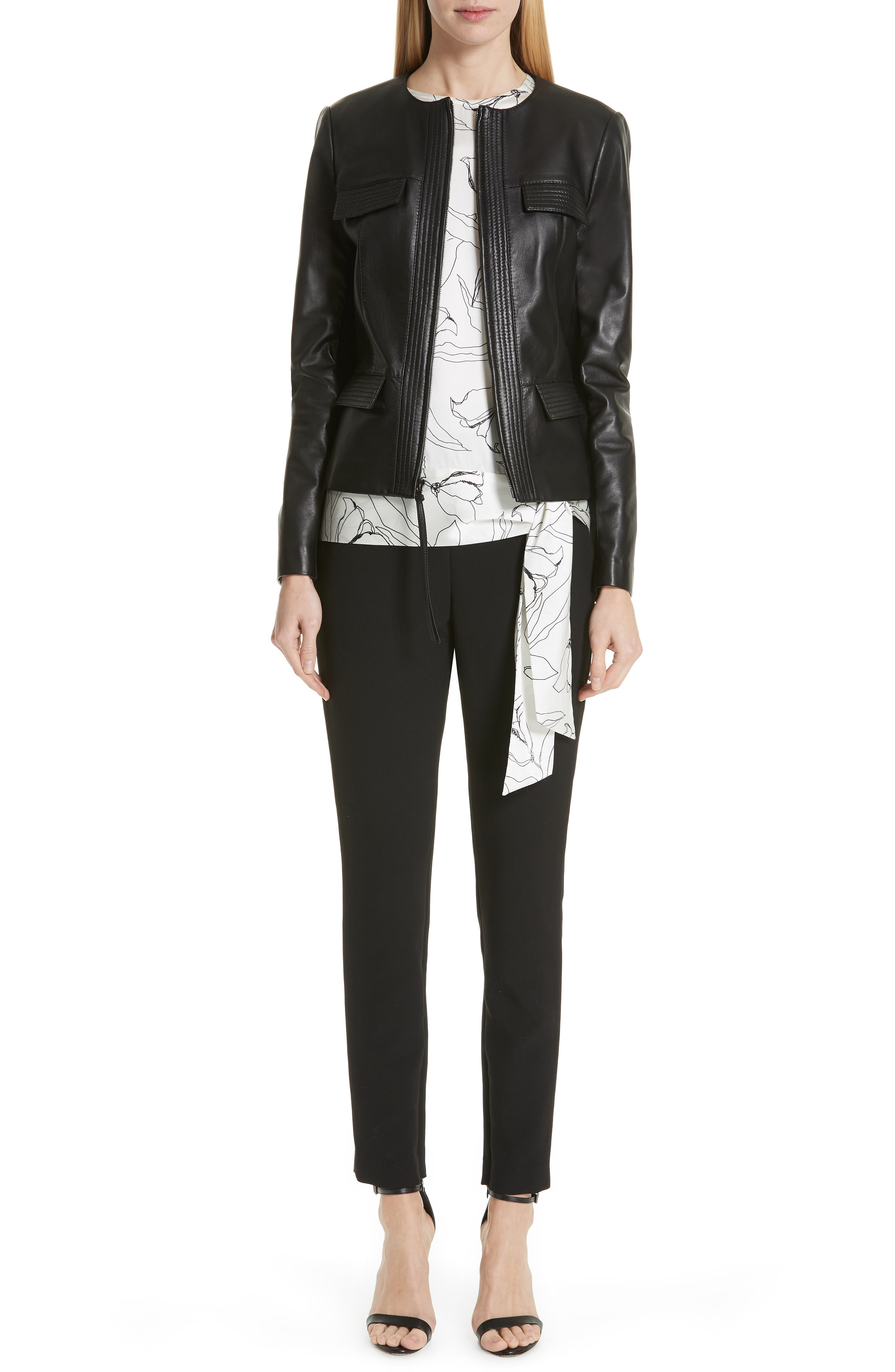 ST. JOHN COLLECTION, Luxe Nappa Leather Jacket, Alternate thumbnail 8, color, CAVIAR