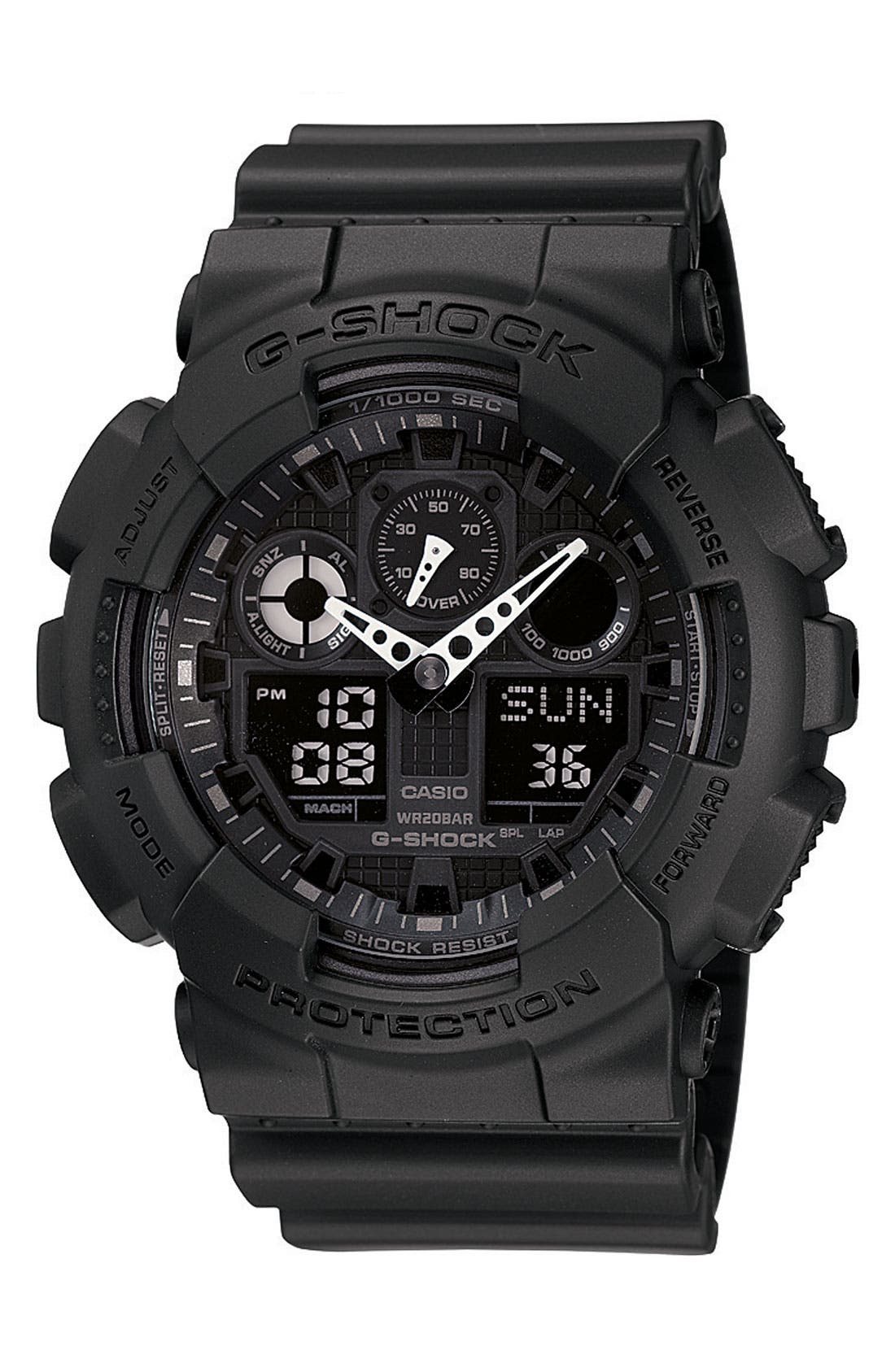 G-SHOCK BABY-G, G-Shock 'Big Combi' Watch, 55mm x 51mm, Main thumbnail 1, color, BLACK/ BLACK