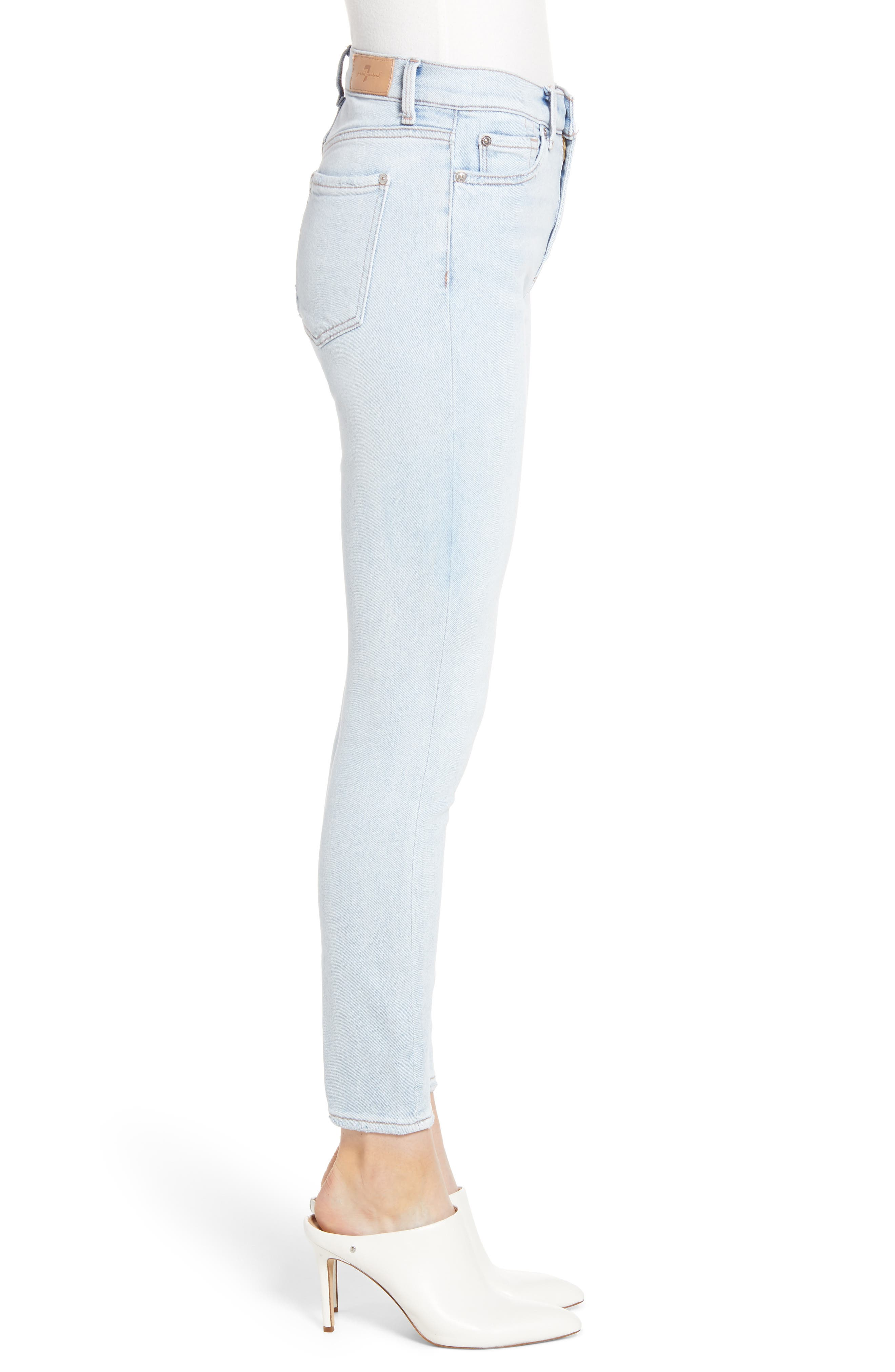 7 FOR ALL MANKIND<SUP>®</SUP>, Luxe Vintage High Waist Ankle Skinny Jeans, Alternate thumbnail 4, color, LUXE VINTAGE CLOUD