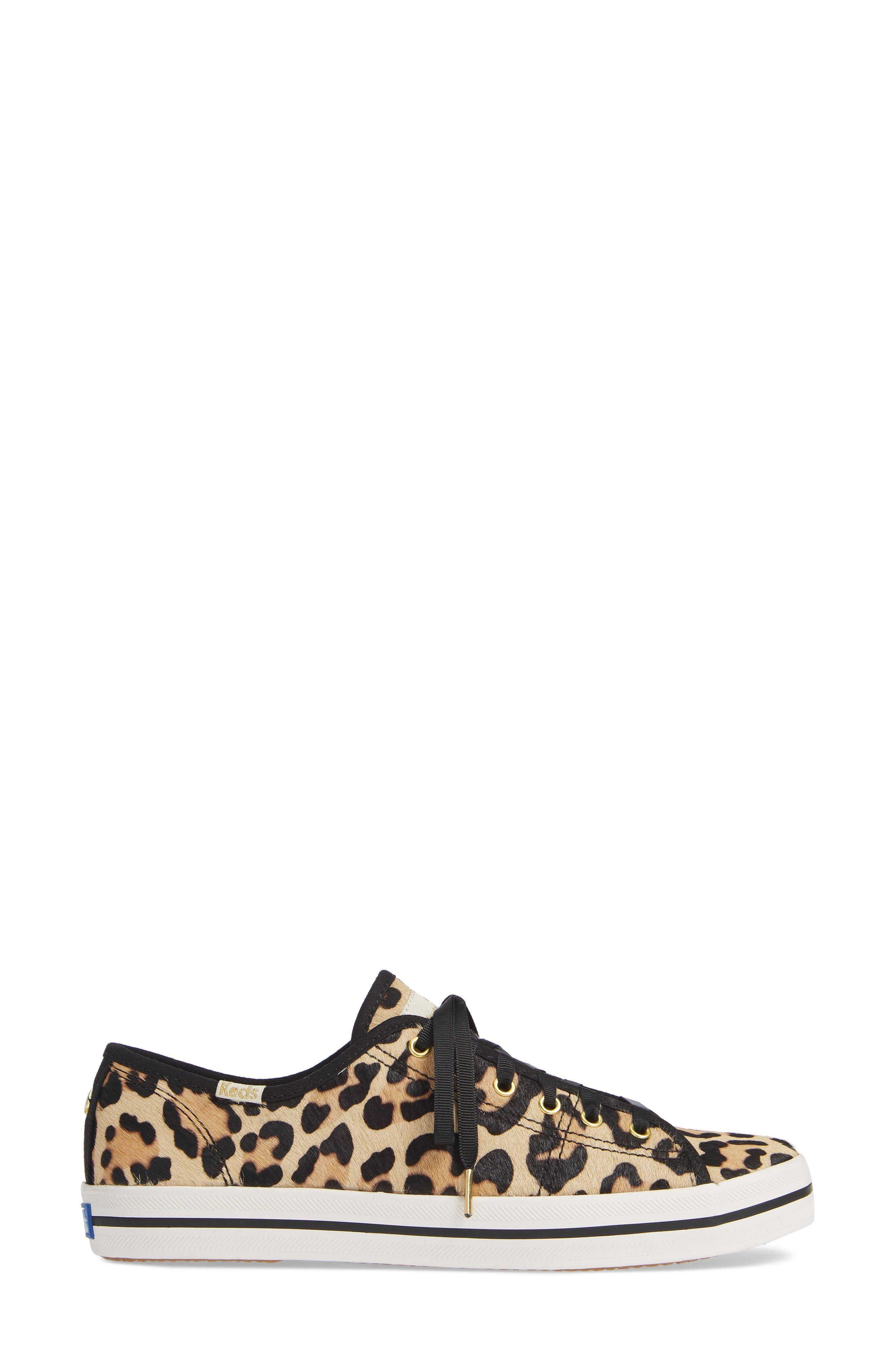 KEDS<SUP>®</SUP> FOR KATE SPADE NEW YORK, kickstart genuine calf hair sneaker, Alternate thumbnail 3, color, TAN LEOPARD CALF HAIR