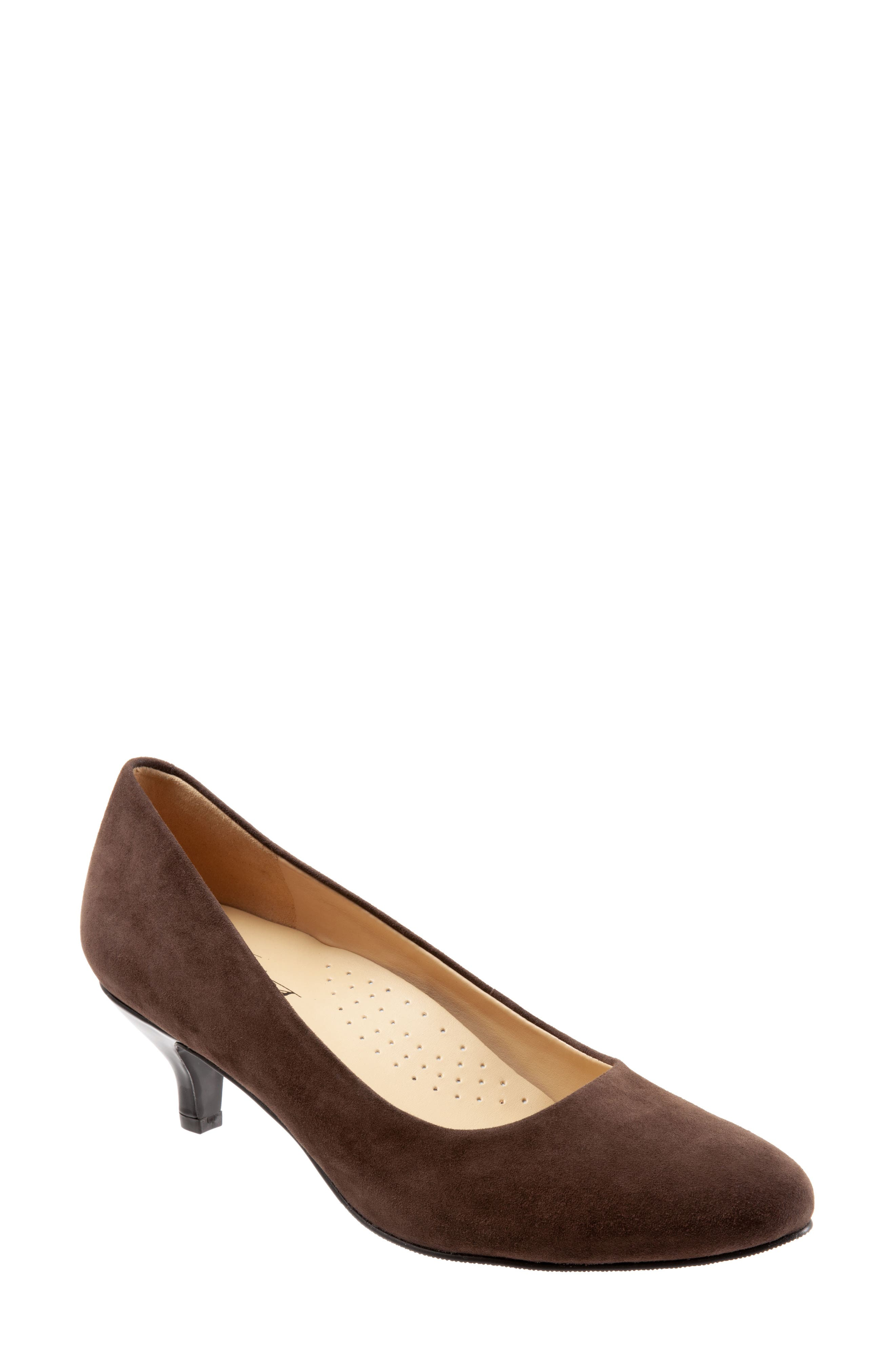 TROTTERS, Kiera Pump, Main thumbnail 1, color, DARK BROWN SUEDE