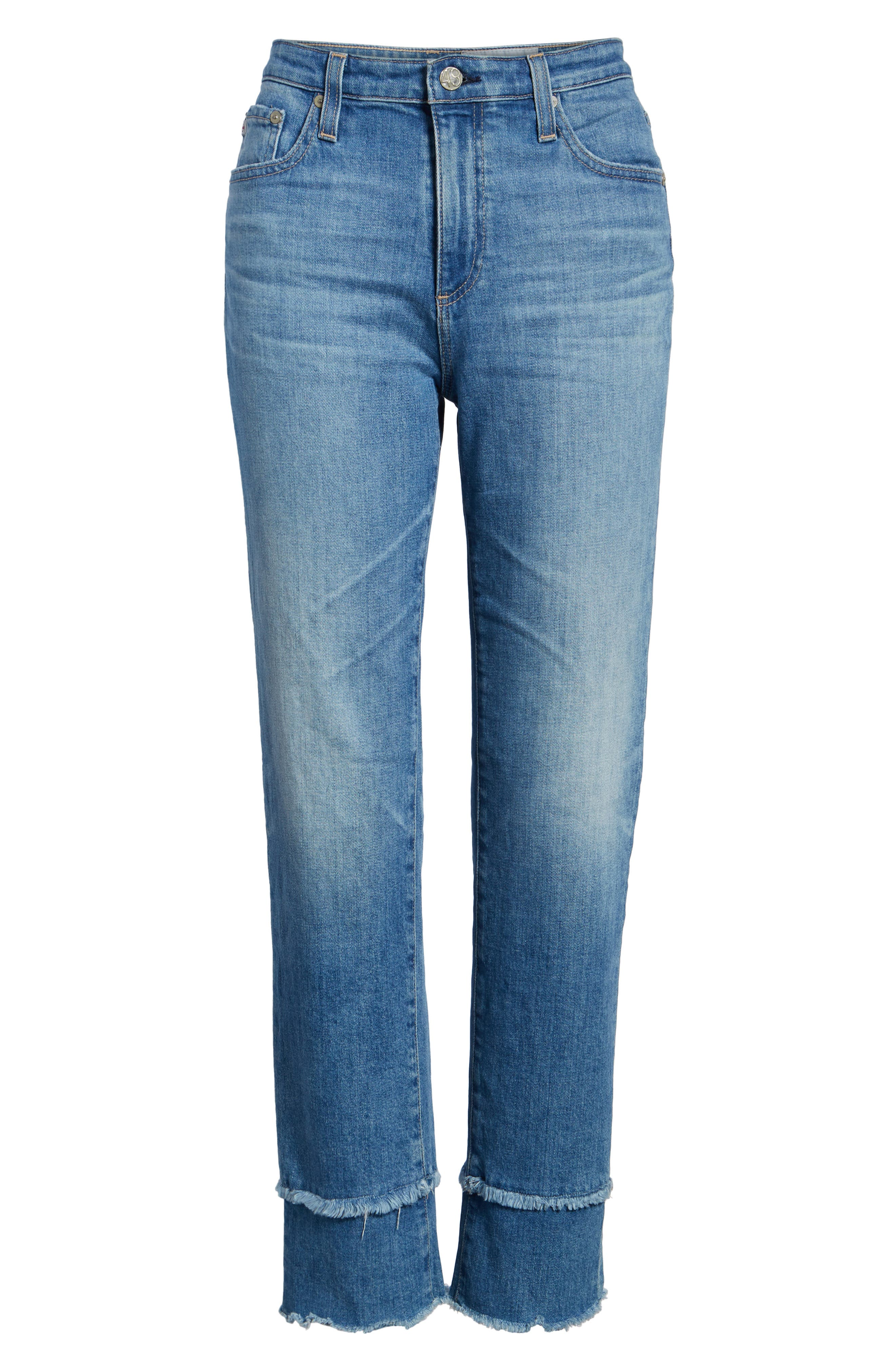 AG, The Isabelle High Waist Straight Leg Jeans, Alternate thumbnail 7, color, 13Y AWESTRUCK