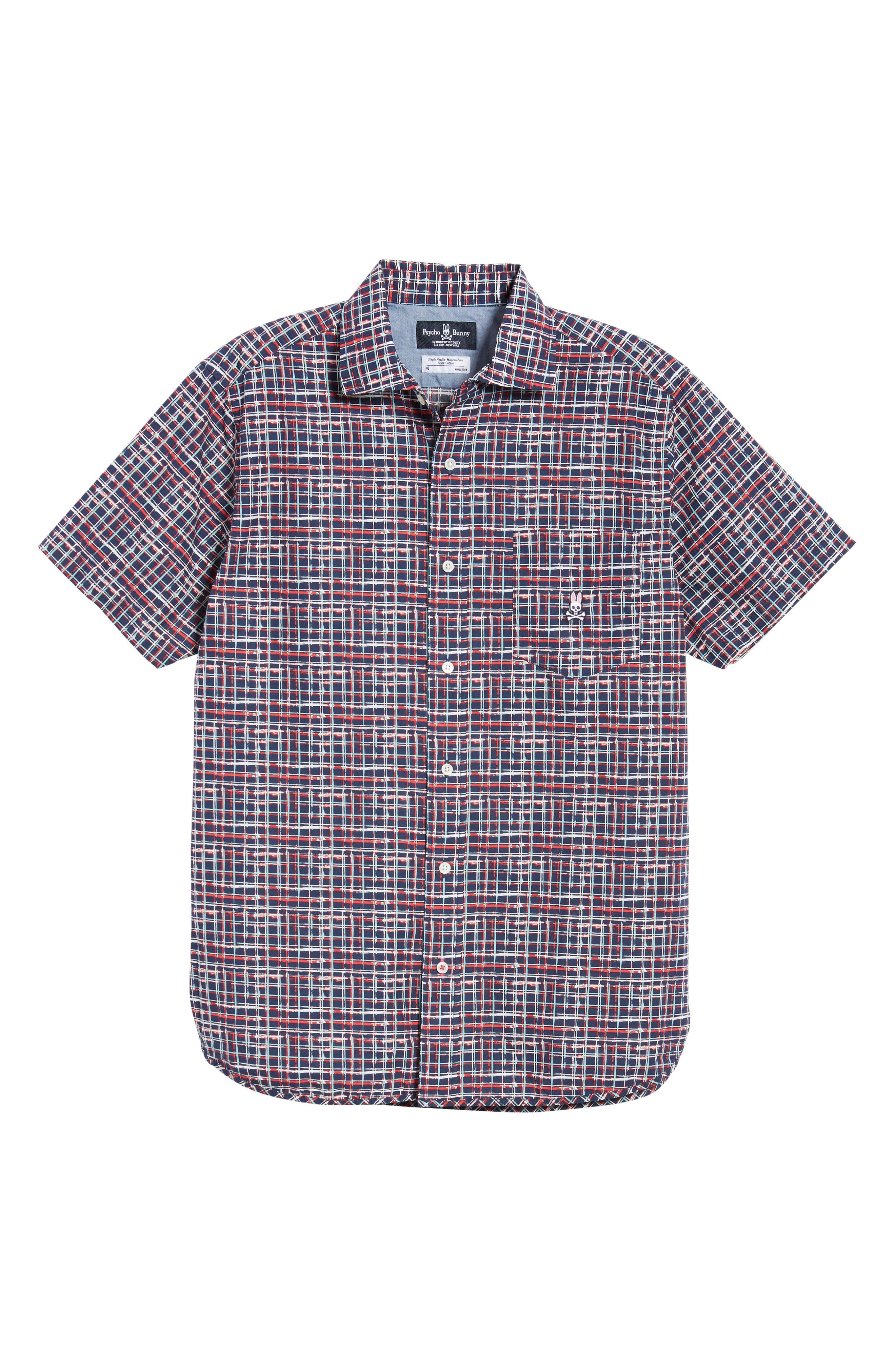 PSYCHO BUNNY, Grid Print Camp Shirt, Alternate thumbnail 6, color, CASSIS