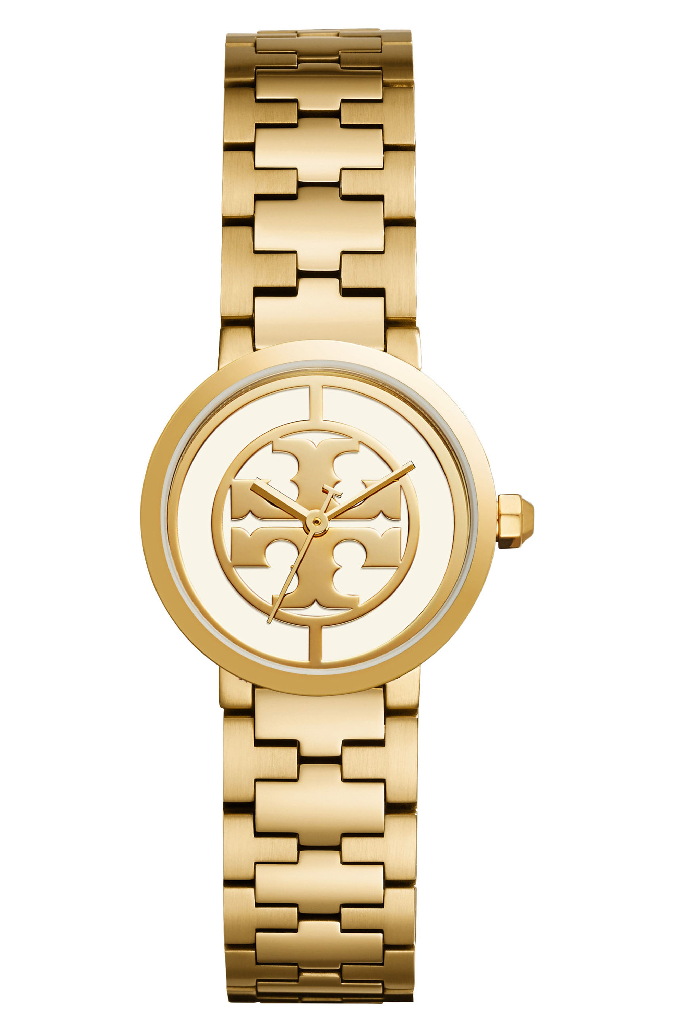 TORY BURCH, Reva Logo Dial Bracelet Watch, 28mm, Main thumbnail 1, color, GOLD/ IVORY/ GOLD