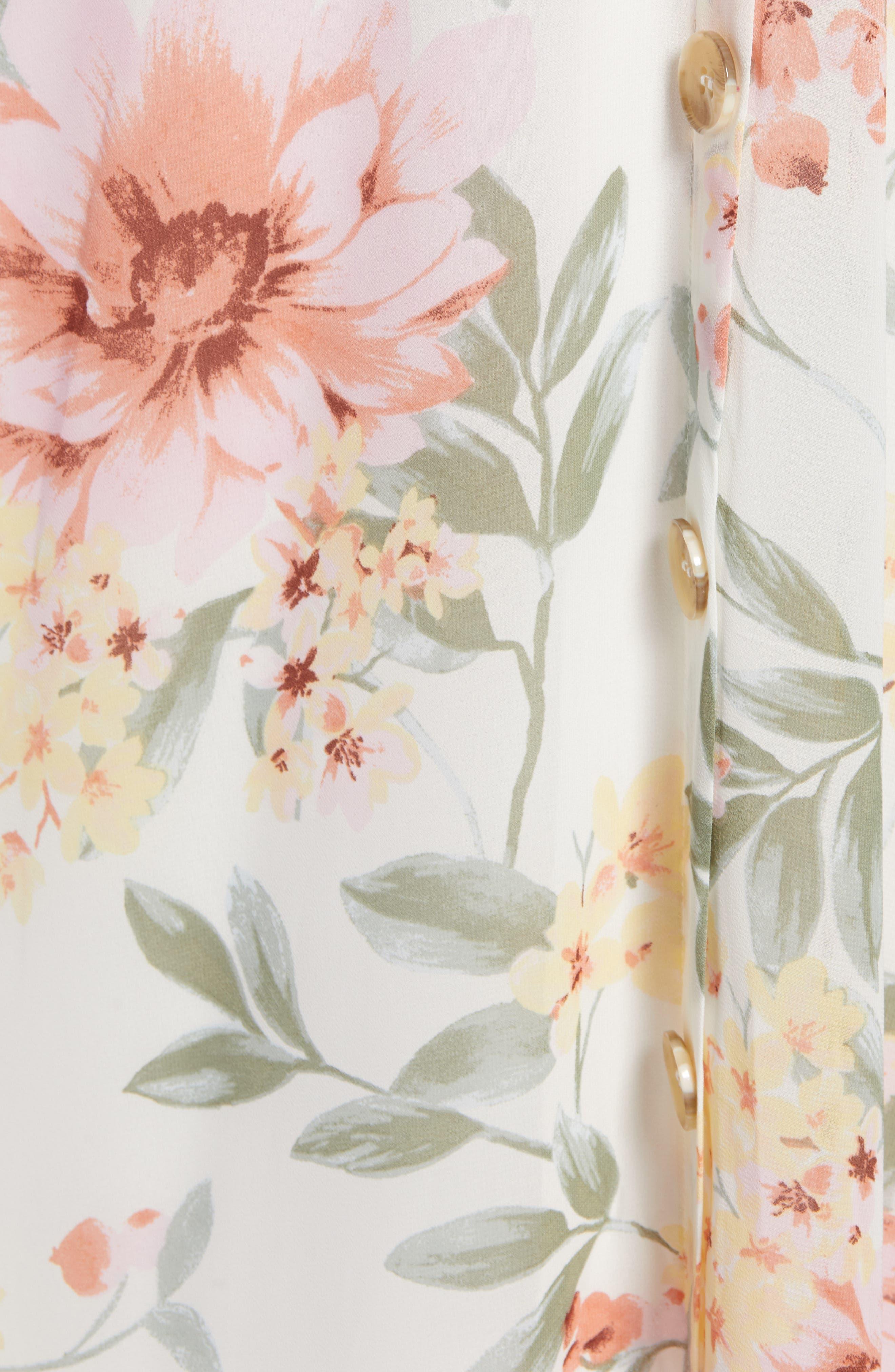 JUNE & HUDSON, Floral V-Neck Tie Front Dress, Alternate thumbnail 6, color, IVORY/ ROSE/ SAGE