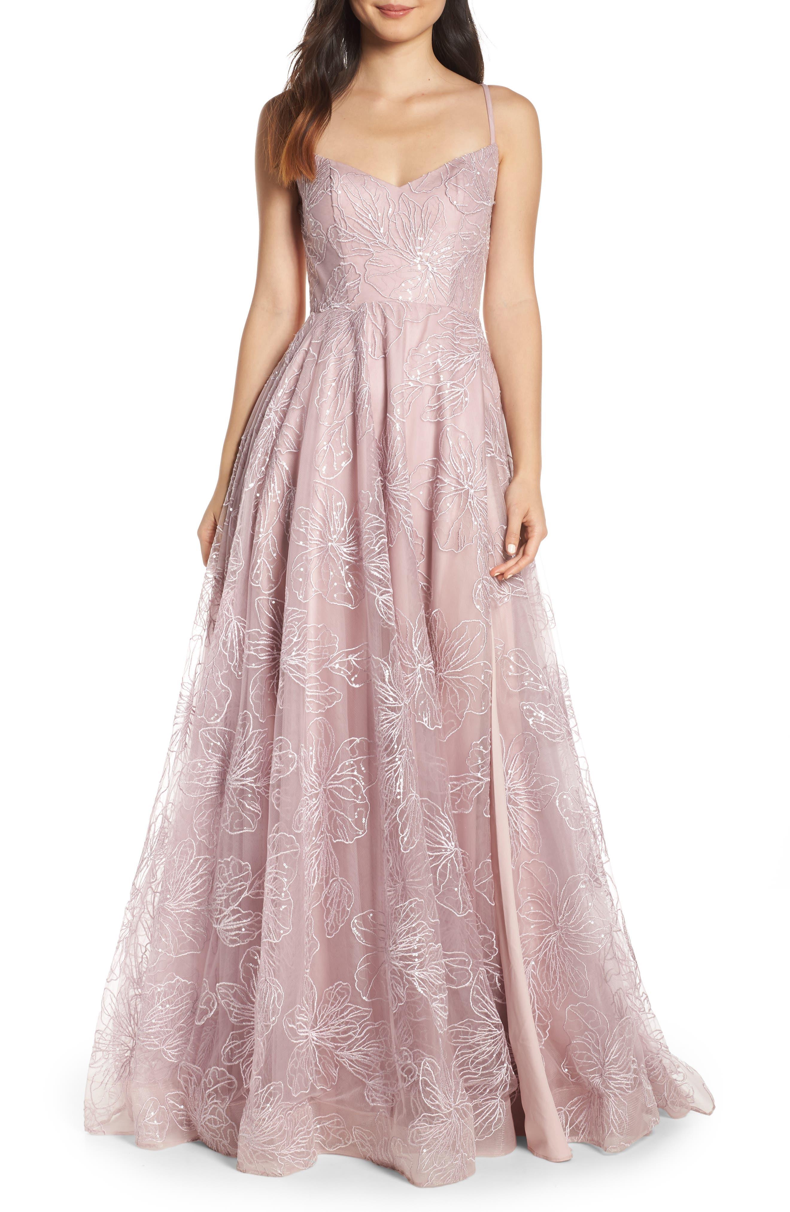 LA FEMME, Metallic Floral Embellished Evening Dress, Main thumbnail 1, color, MAUVE
