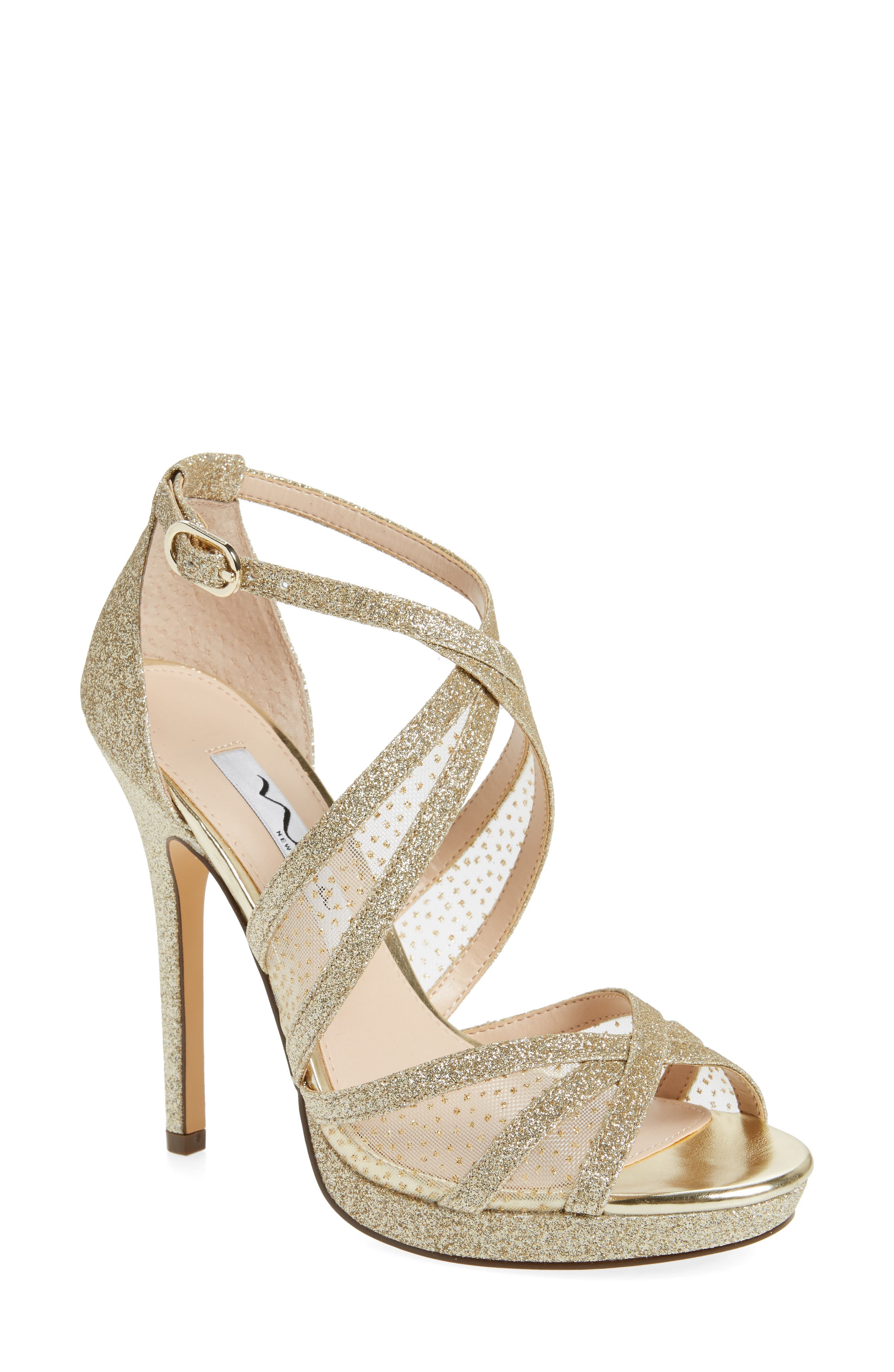 NINA, Fenna Strappy Platform Sandal, Main thumbnail 1, color, GOLD GLITTER FABRIC