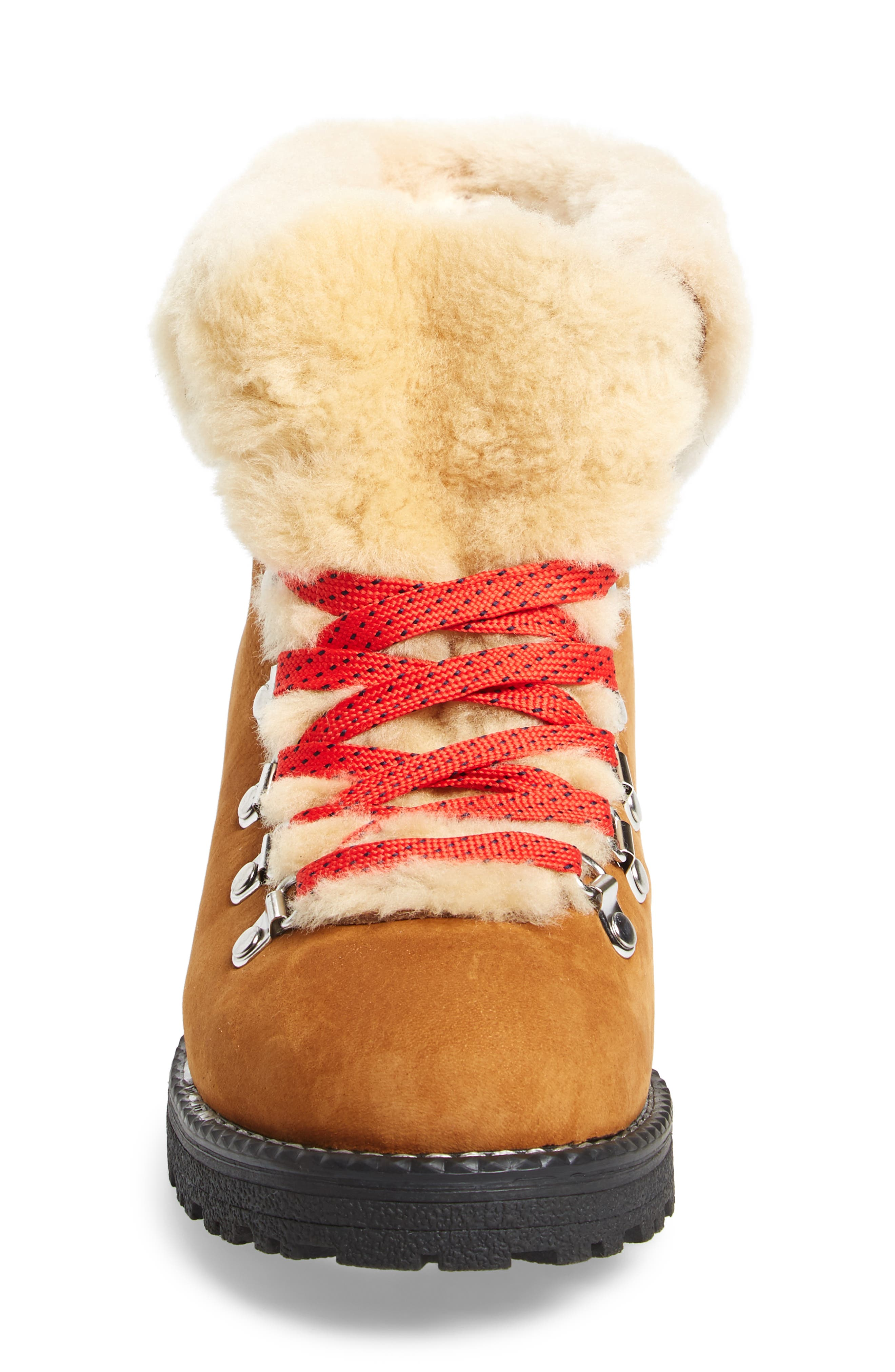 J.CREW, Nordic Genuine Shearling Cuff Winter Boot, Alternate thumbnail 4, color, GLAZED PECAN LEATHER