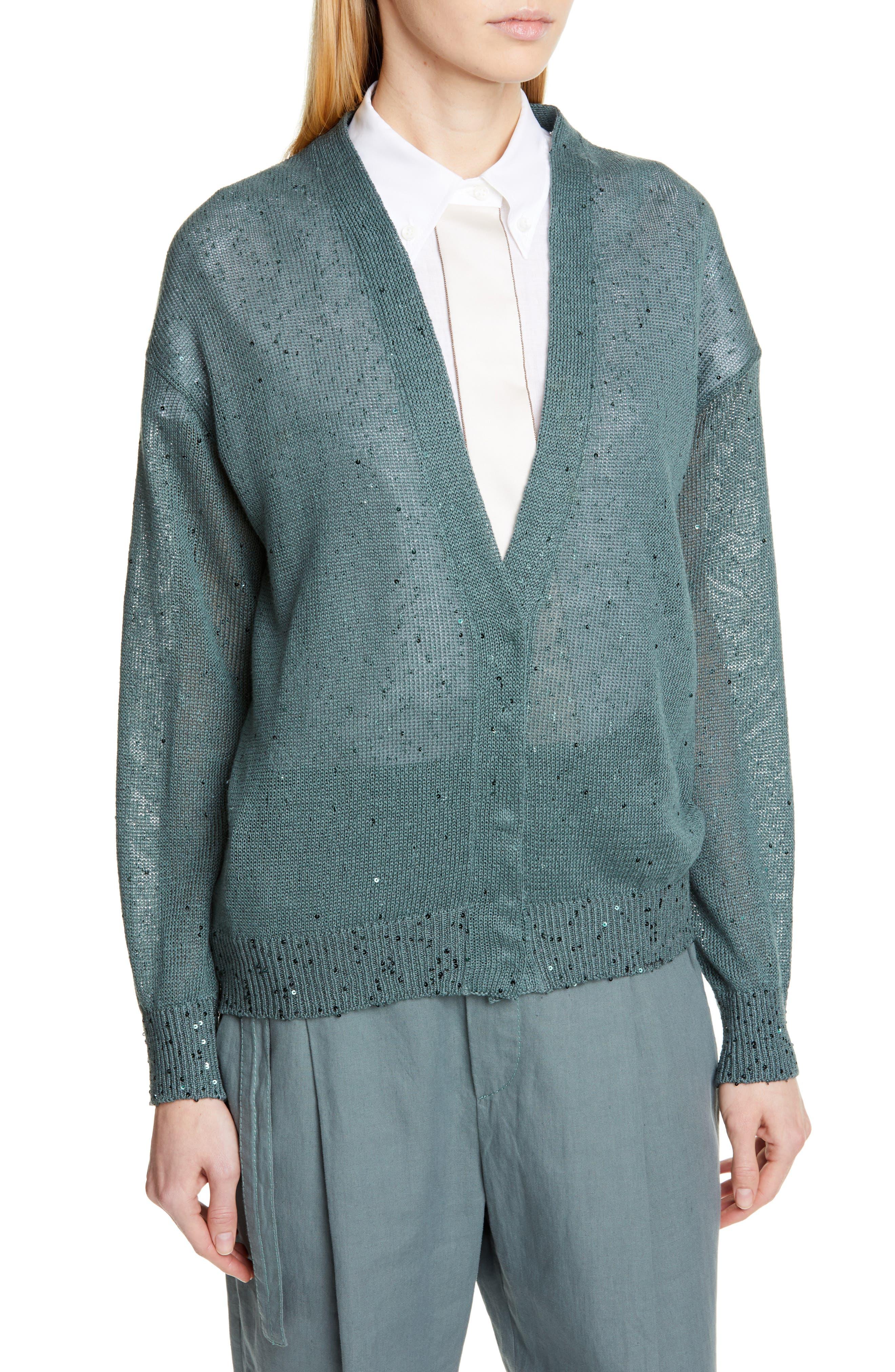 BRUNELLO CUCINELLI, Sequin Linen & Silk Cardigan, Alternate thumbnail 4, color, SAGE