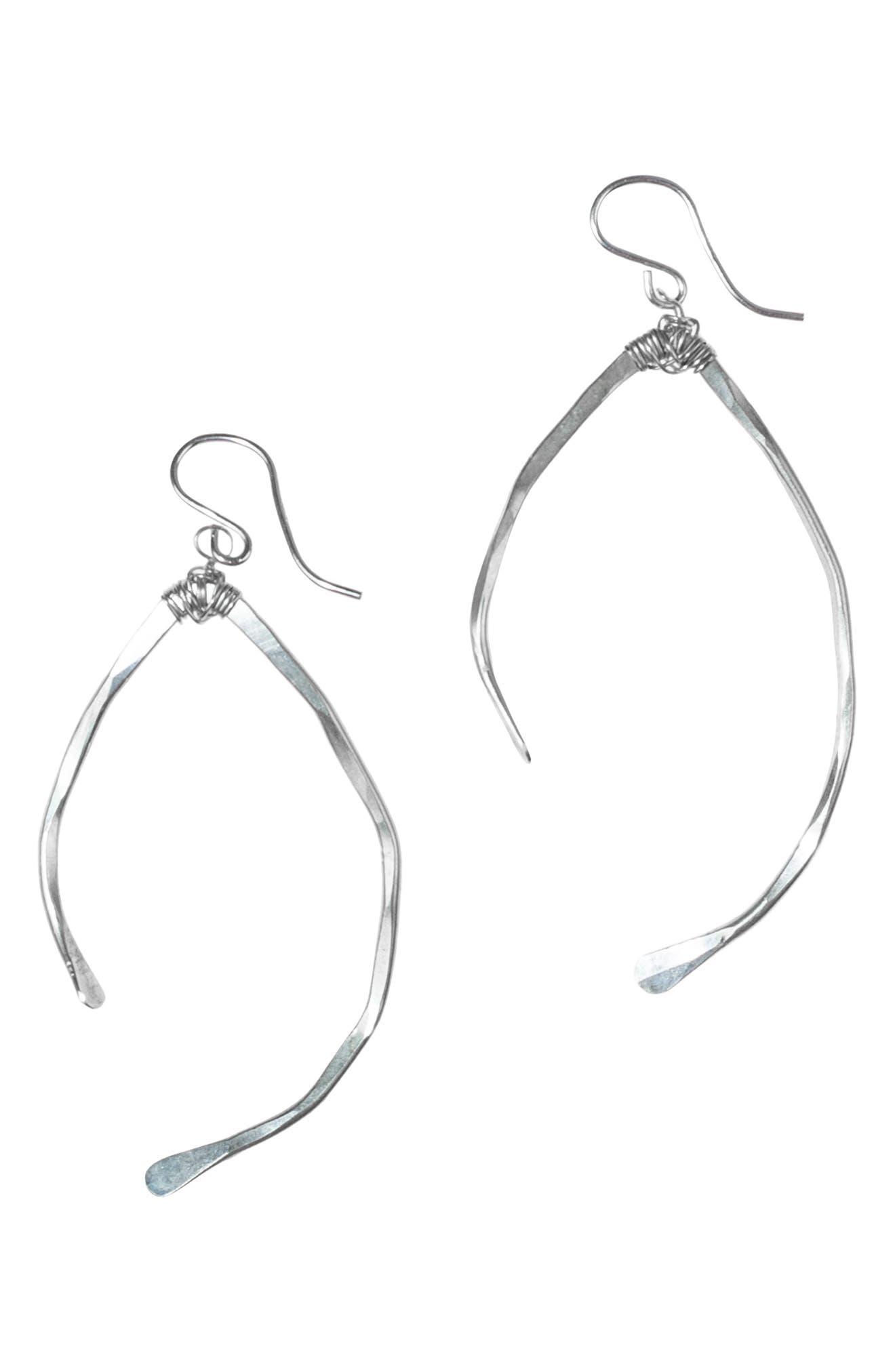 NASHELLE Wishbone Earrings, Main, color, SILVER