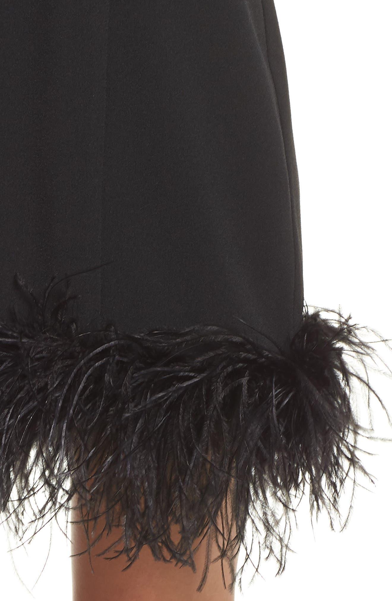 CHELSEA28, Feather Hem Sheath Dress, Alternate thumbnail 5, color, BLACK