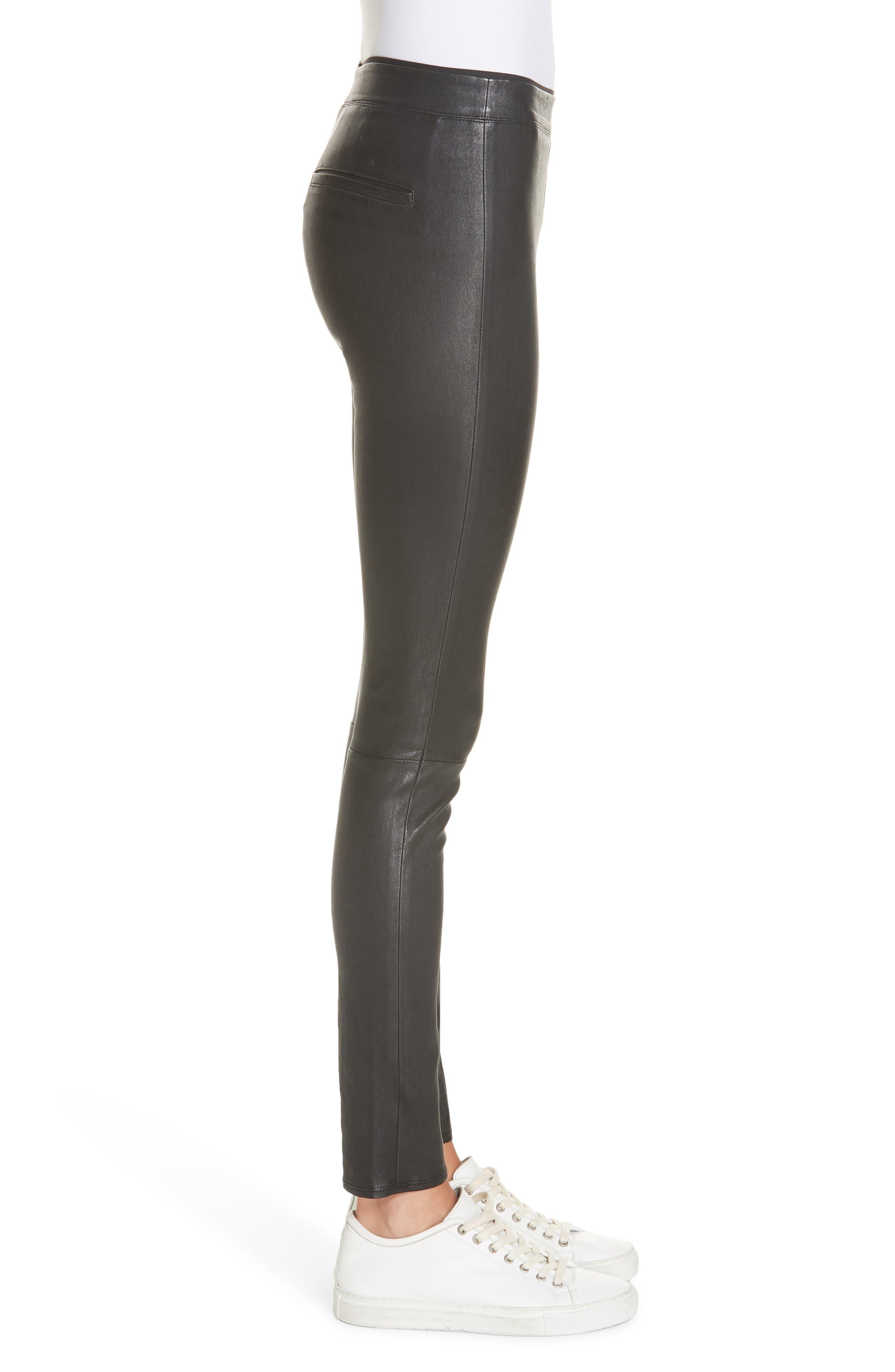 HELMUT LANG, Stretch Lambskin Leather Leggings, Alternate thumbnail 4, color, BLACK