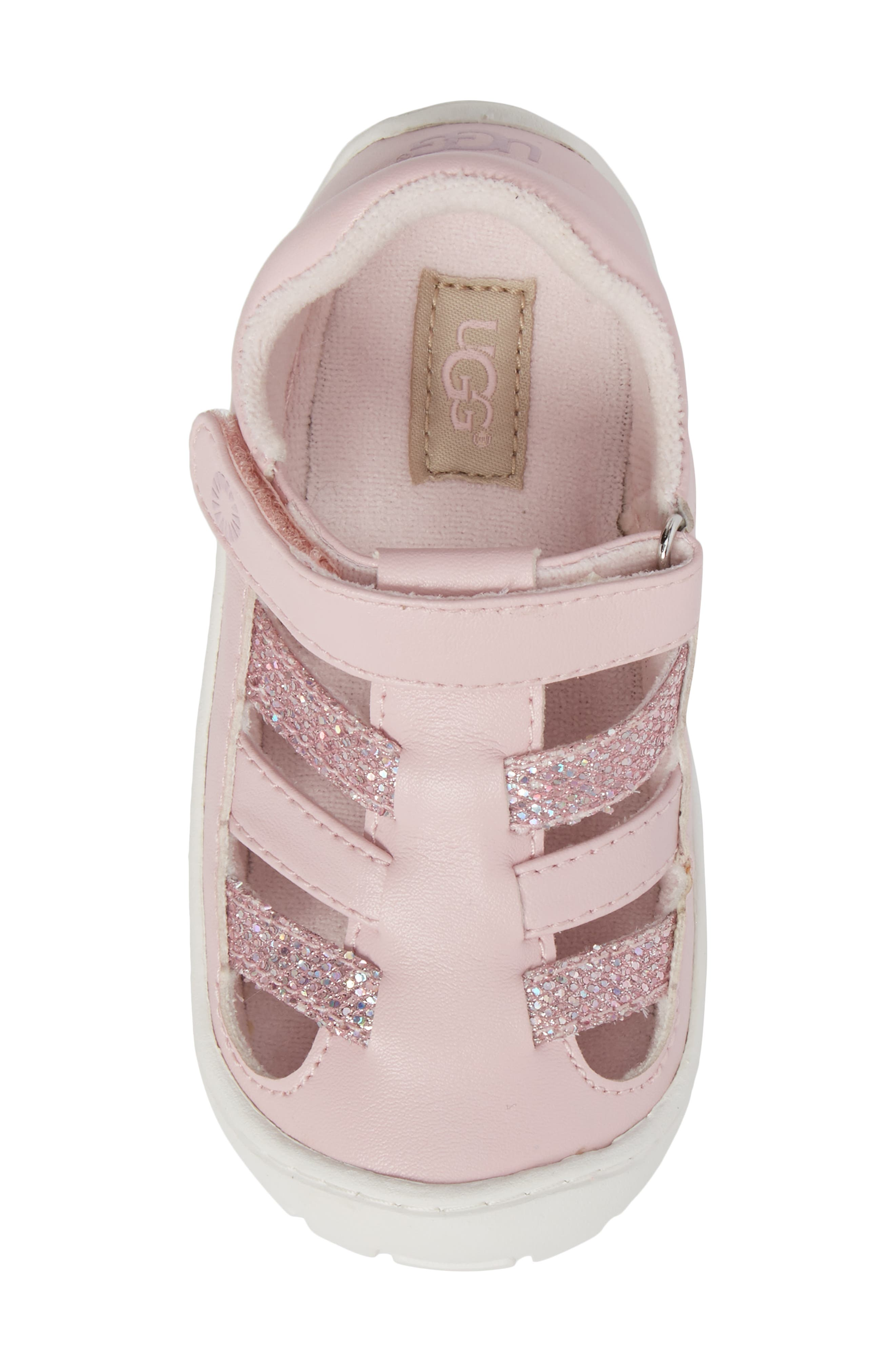 UGG<SUP>®</SUP>, Santore Glitter Sandal, Alternate thumbnail 5, color, SEASHELL PINK