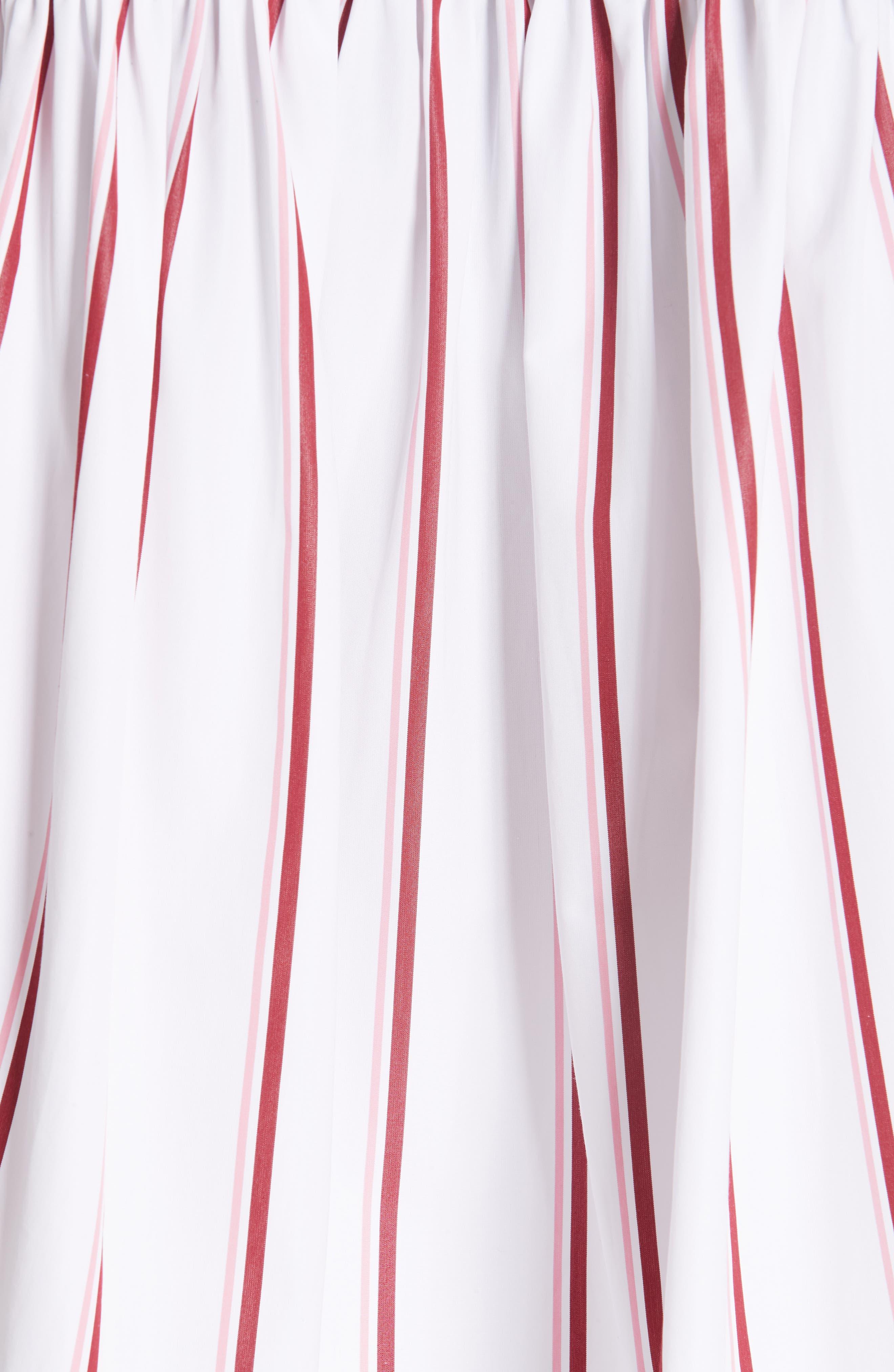 CALVIN KLEIN 205W39NYC, Tie Neck Cotton Poplin Blouse, Alternate thumbnail 6, color, OPTIC WHITE CAMEO PINK