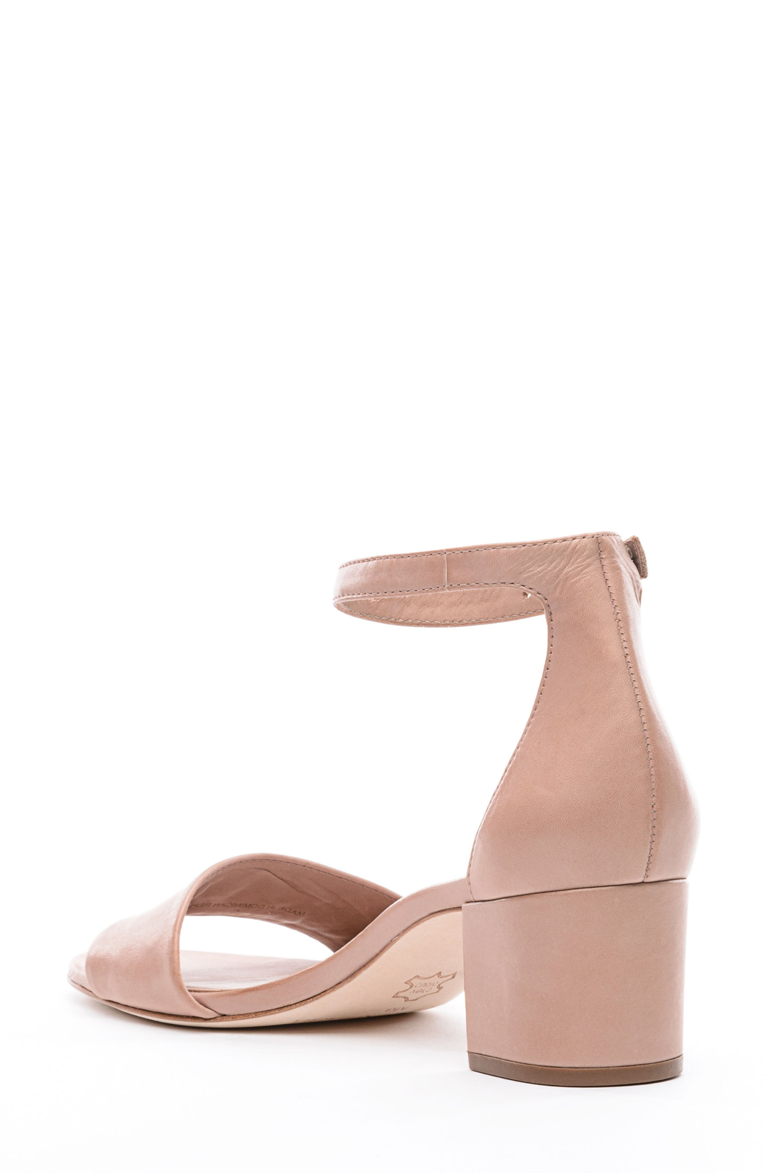 BERNARDO, Belinda Ankle Strap Sandal, Alternate thumbnail 2, color, BLUSH LEATHER