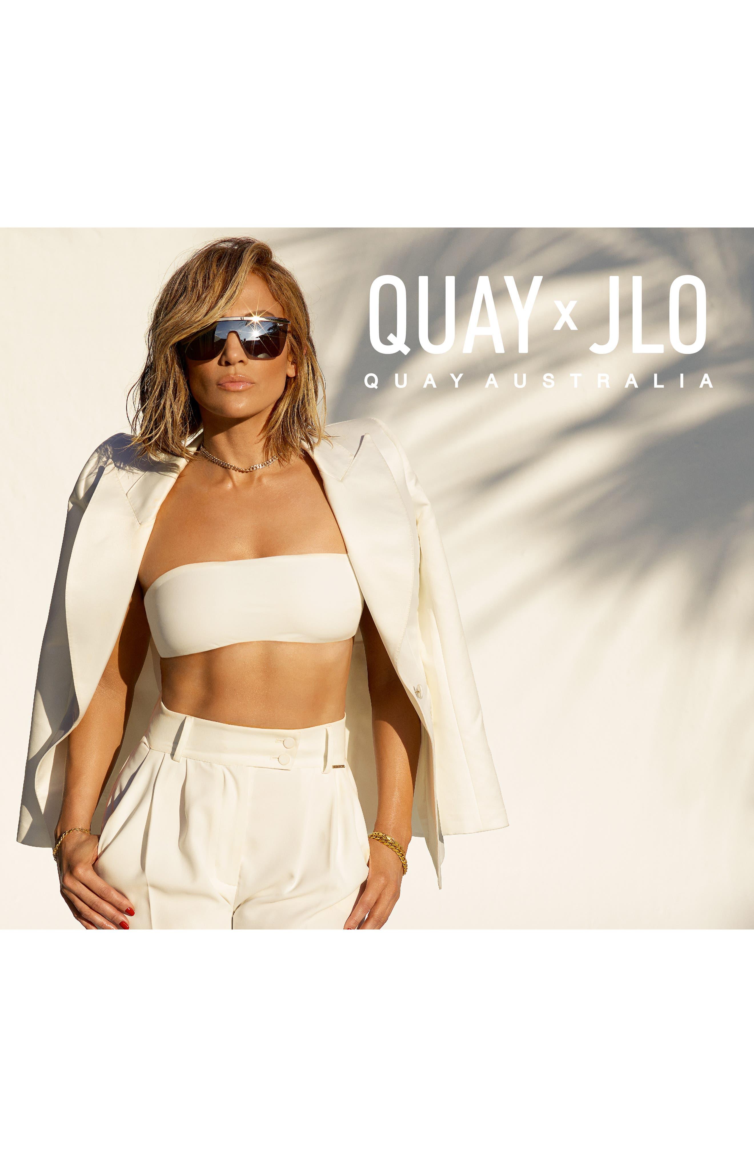QUAY AUSTRALIA, x JLO Get Right 54mm Flat Top Shield Sunglasses, Alternate thumbnail 4, color, GOLD/ BLACK FADE